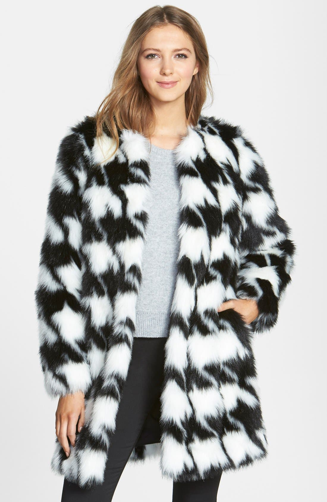 Houndstooth Faux Fur Coat,                             Main thumbnail 1, color,                             902