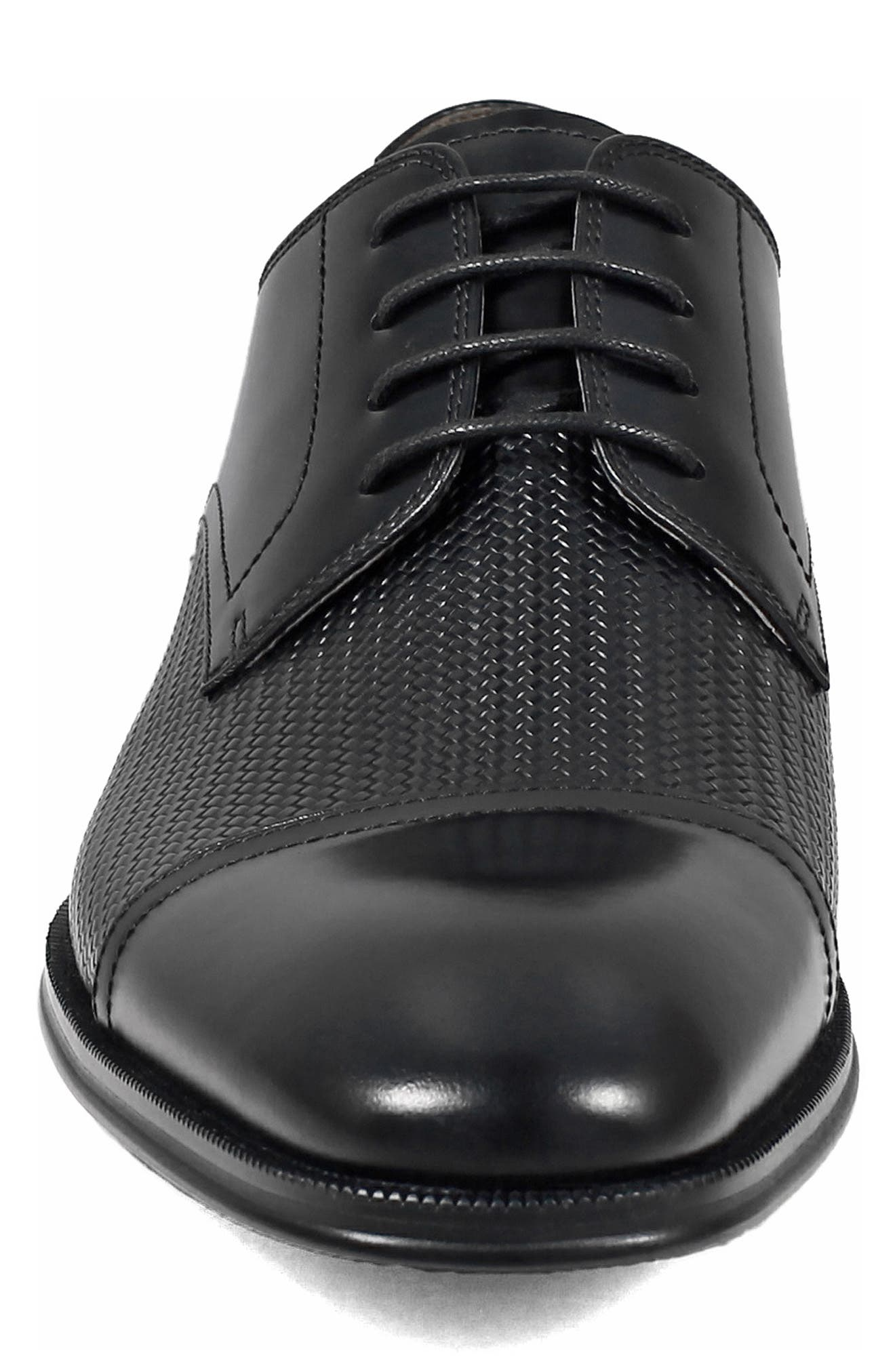 Belfast Embossed Cap Toe Derby,                             Alternate thumbnail 4, color,                             BLACK LEATHER