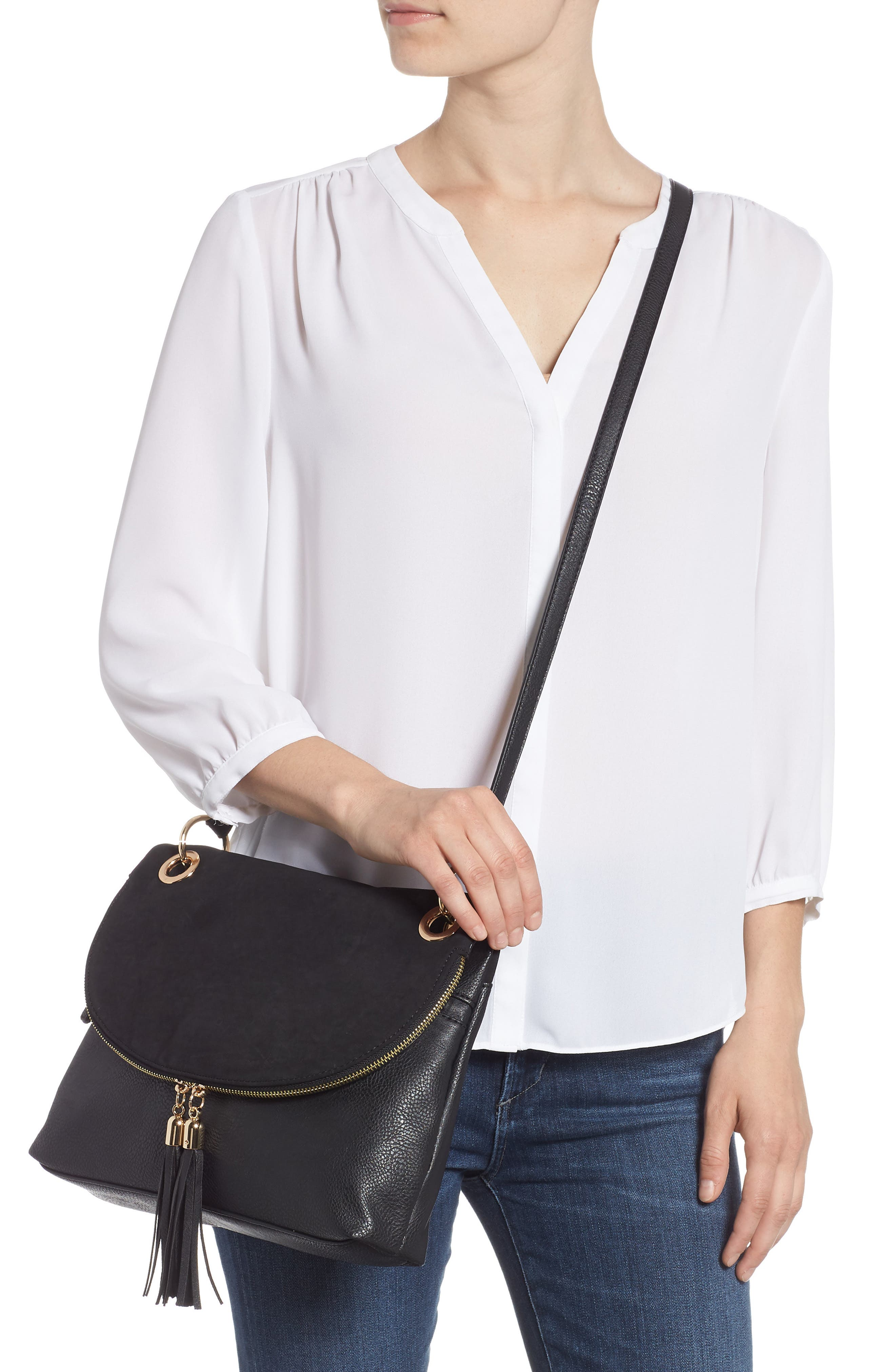 Faux Leather Foldover Tassel Crossbody Bag,                             Alternate thumbnail 2, color,                             BLACK