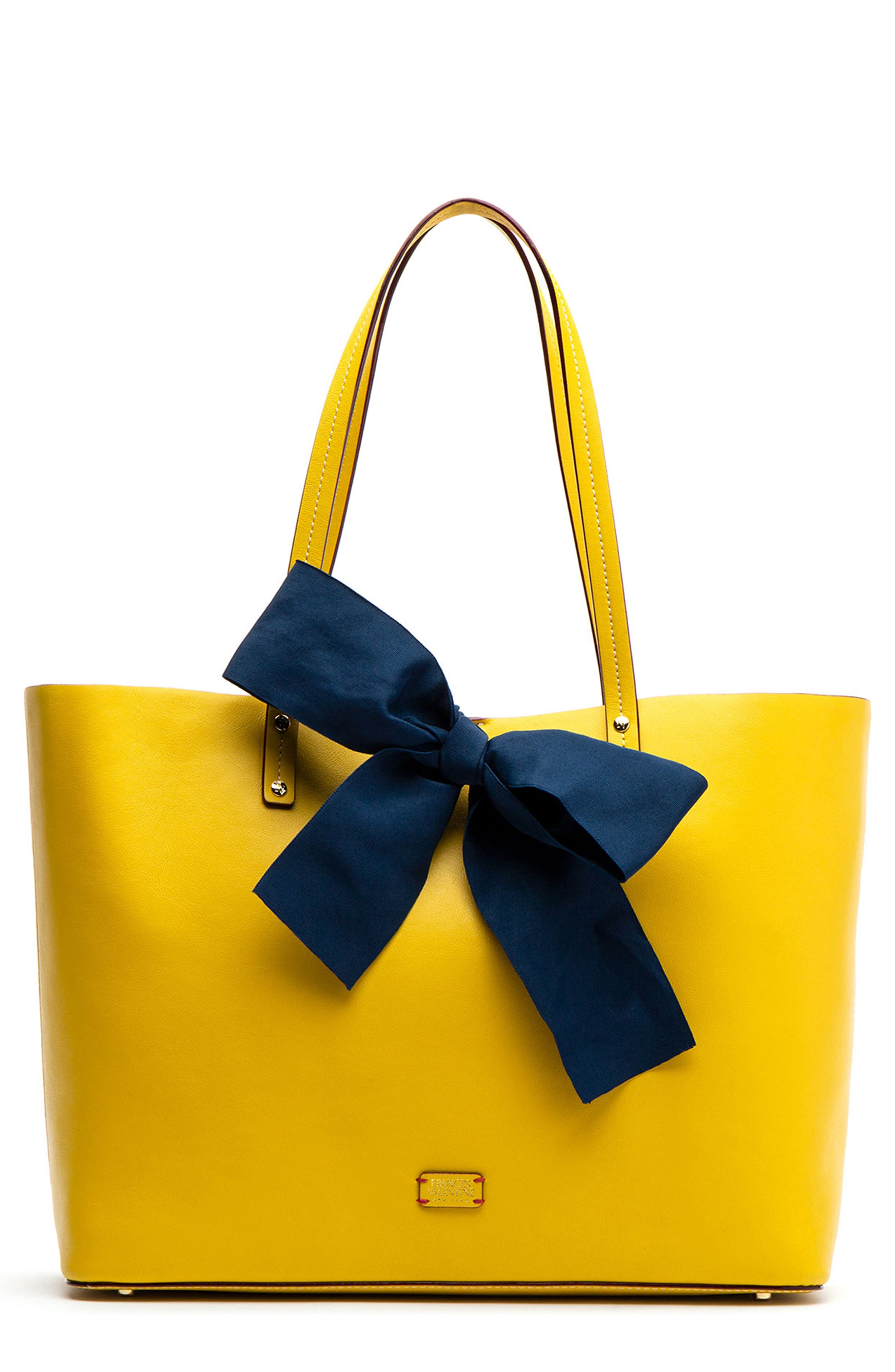 FRANCES VALENTINE Trixie Leather Tote in Yellow/ Navy
