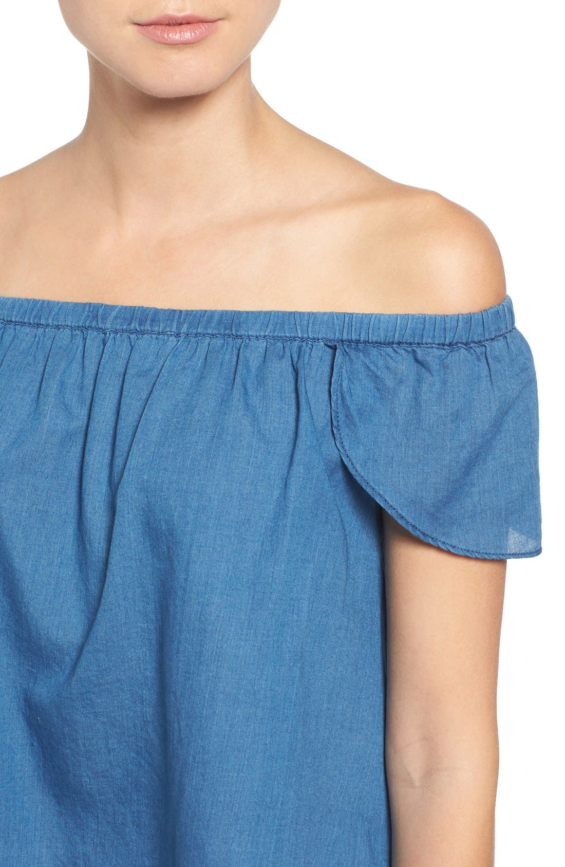 MADEWELL,                             Off the Shoulder Cotton Top,                             Alternate thumbnail 5, color,                             400