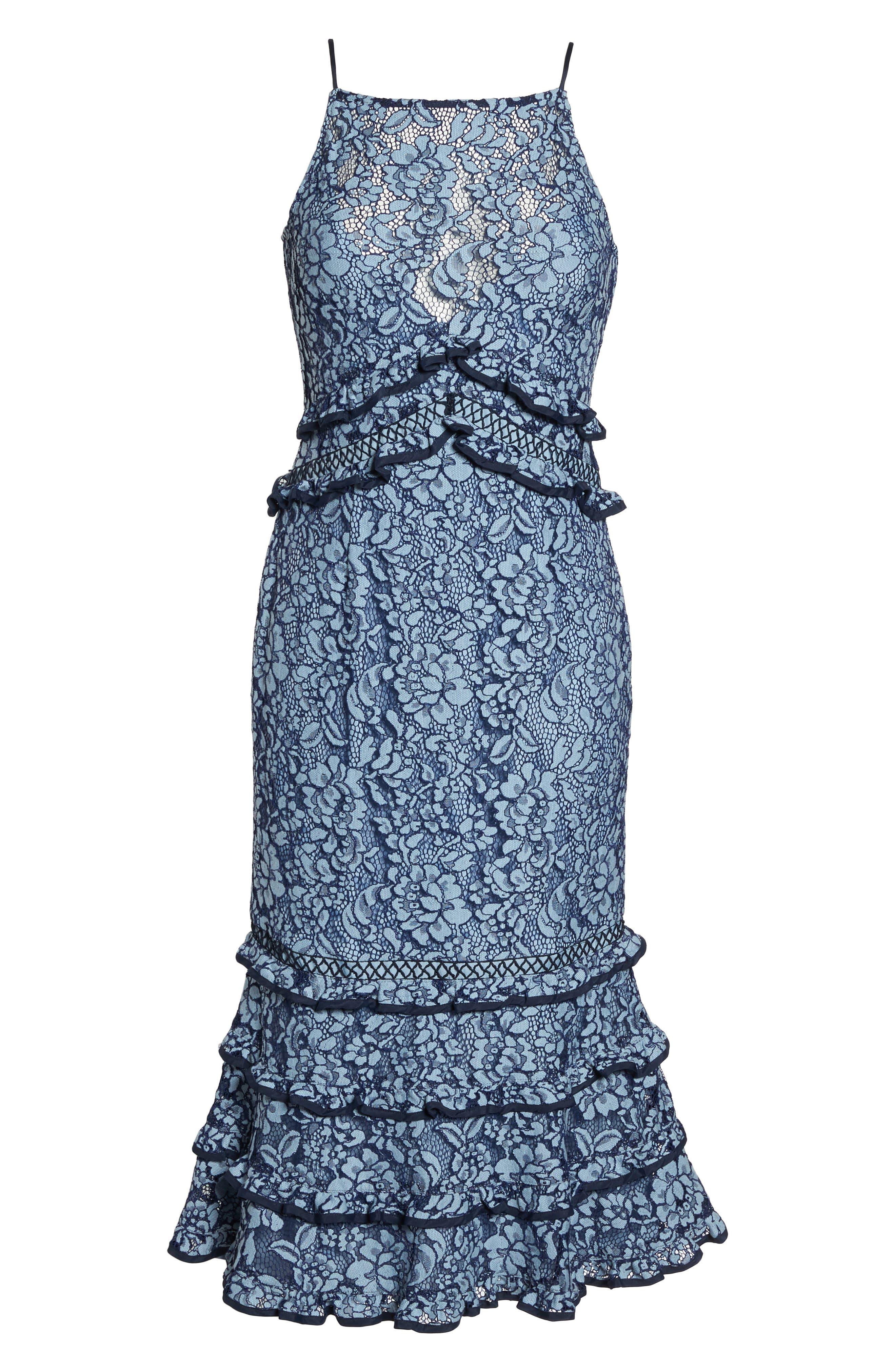 Catch Me Ruffle Lace Sheath Dress,                             Alternate thumbnail 6, color,                             425