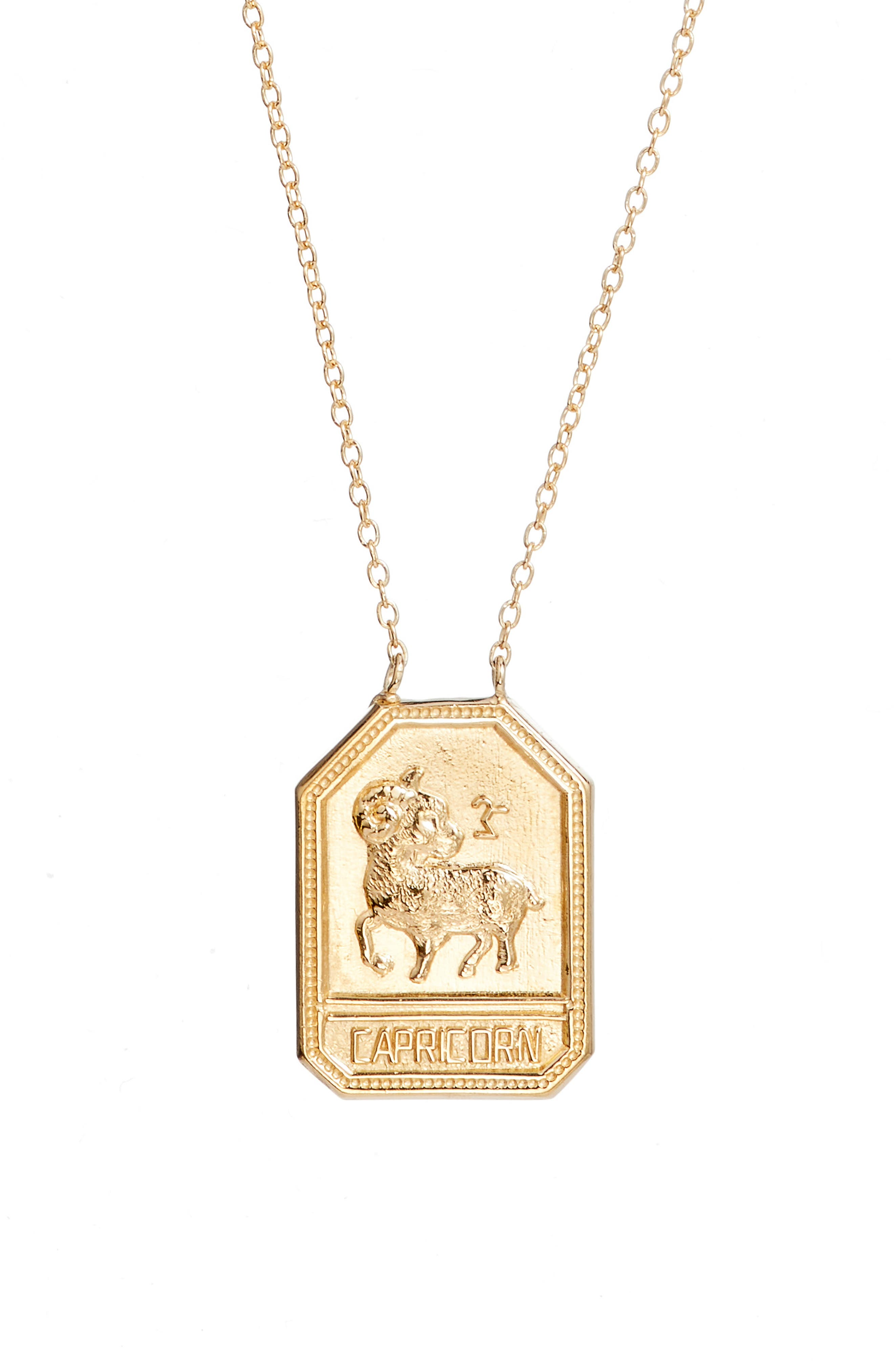 Jewelry Kiana Zodiac Pendant Necklace,                             Alternate thumbnail 2, color,                             CAPRICORN GOLD