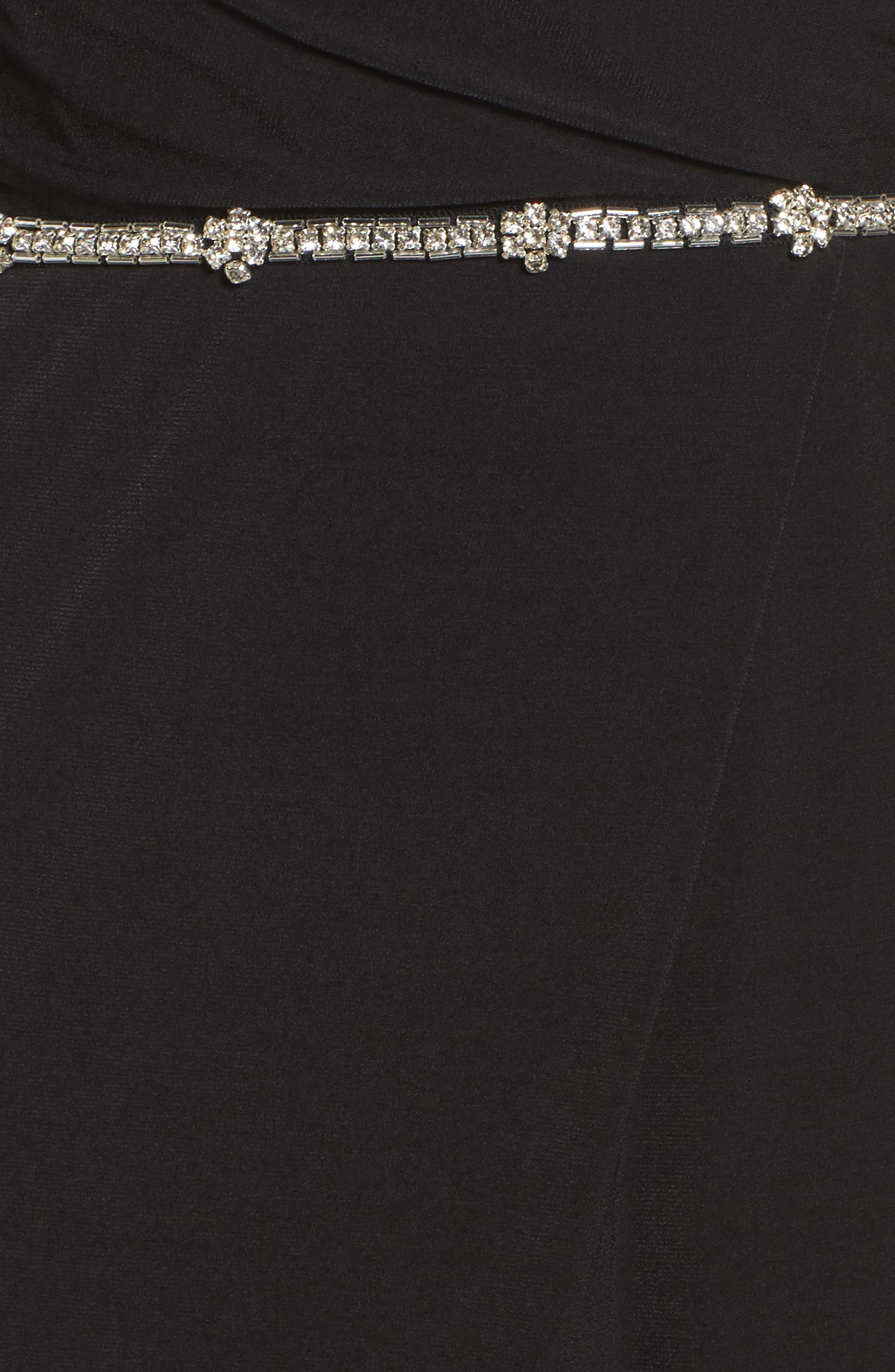 Embellished Drape Back Gown,                             Alternate thumbnail 5, color,                             001