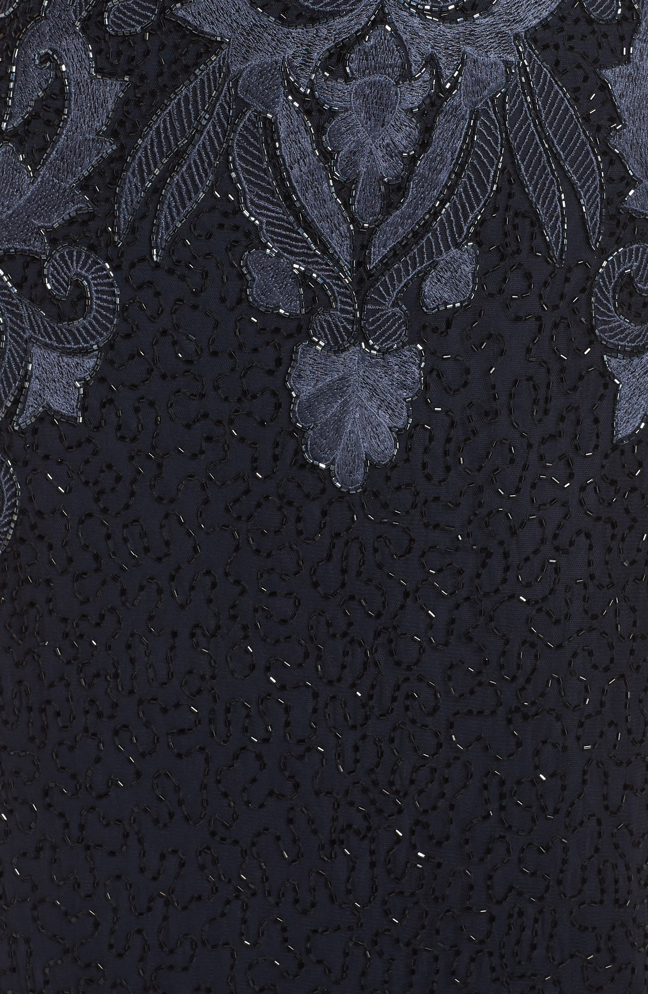 PISARRO NIGHTS,                             Embroidered Mesh Gown,                             Alternate thumbnail 7, color,                             001