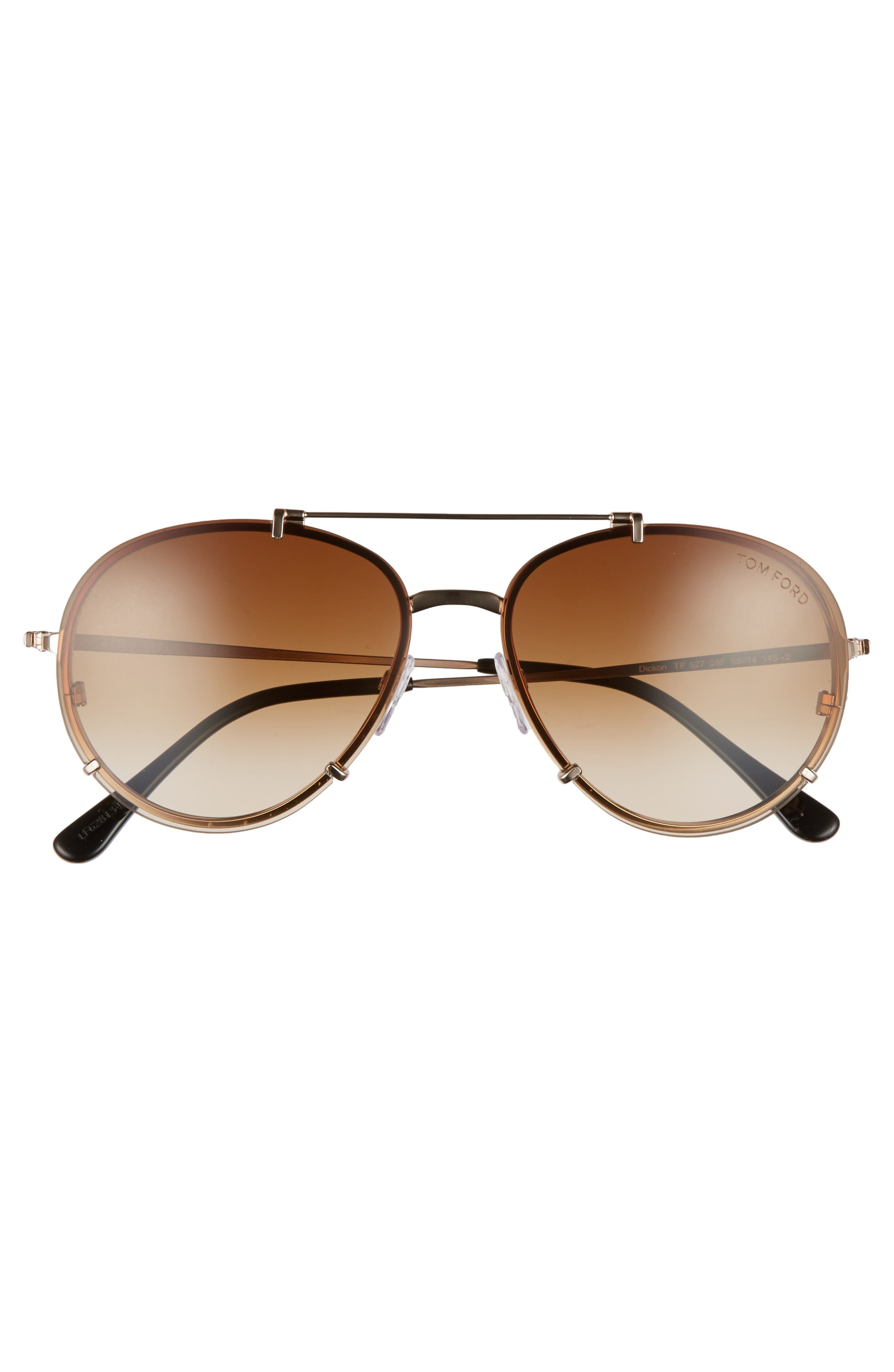 Dickon 59mm Aviator Sunglasses,                             Alternate thumbnail 3, color,                             ROSE GOLD/ BROWN