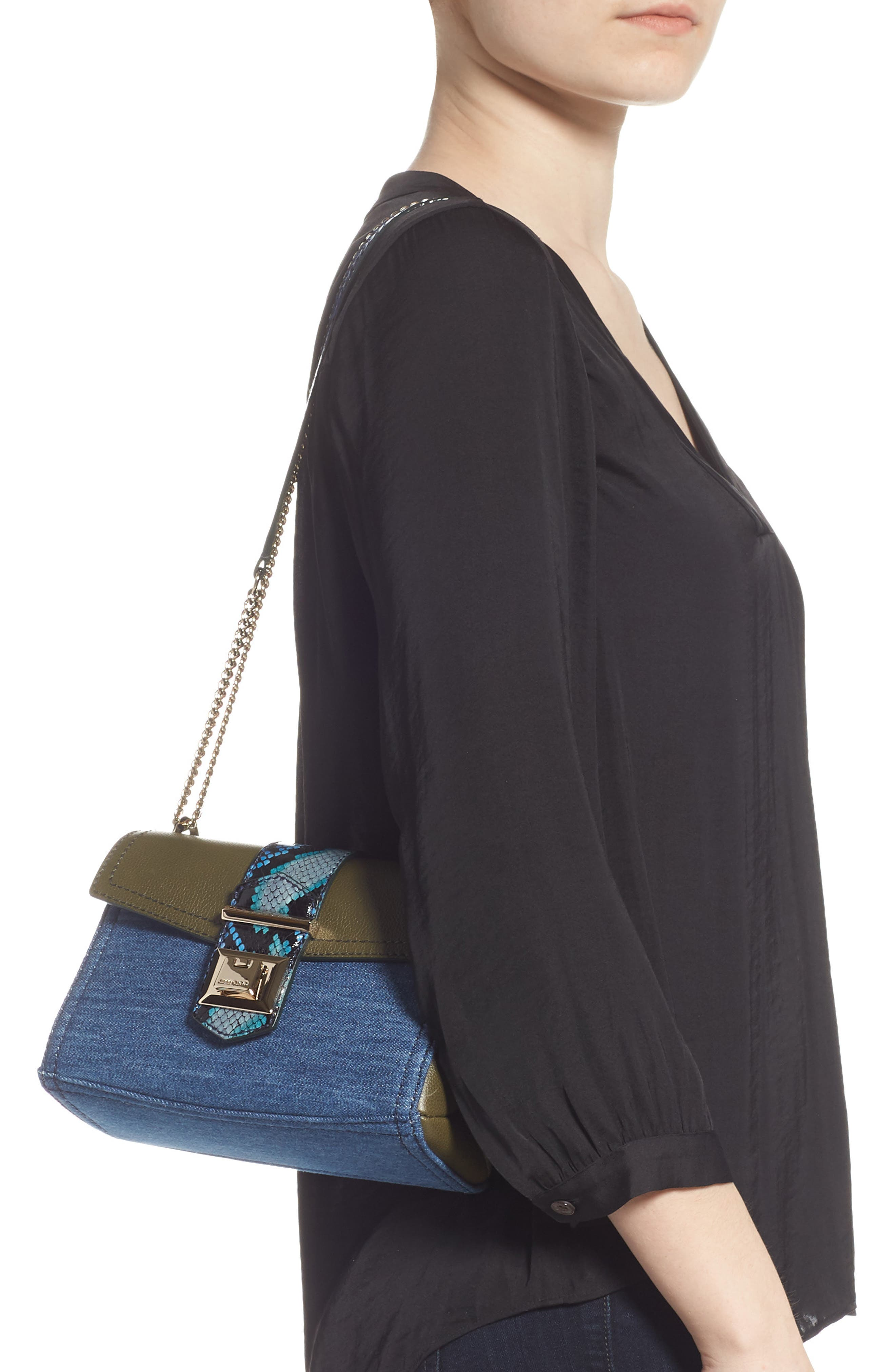 Marianne Leather & Genuine Snakeskin Crossbody Bag,                             Alternate thumbnail 3, color,                             NAVY MIX