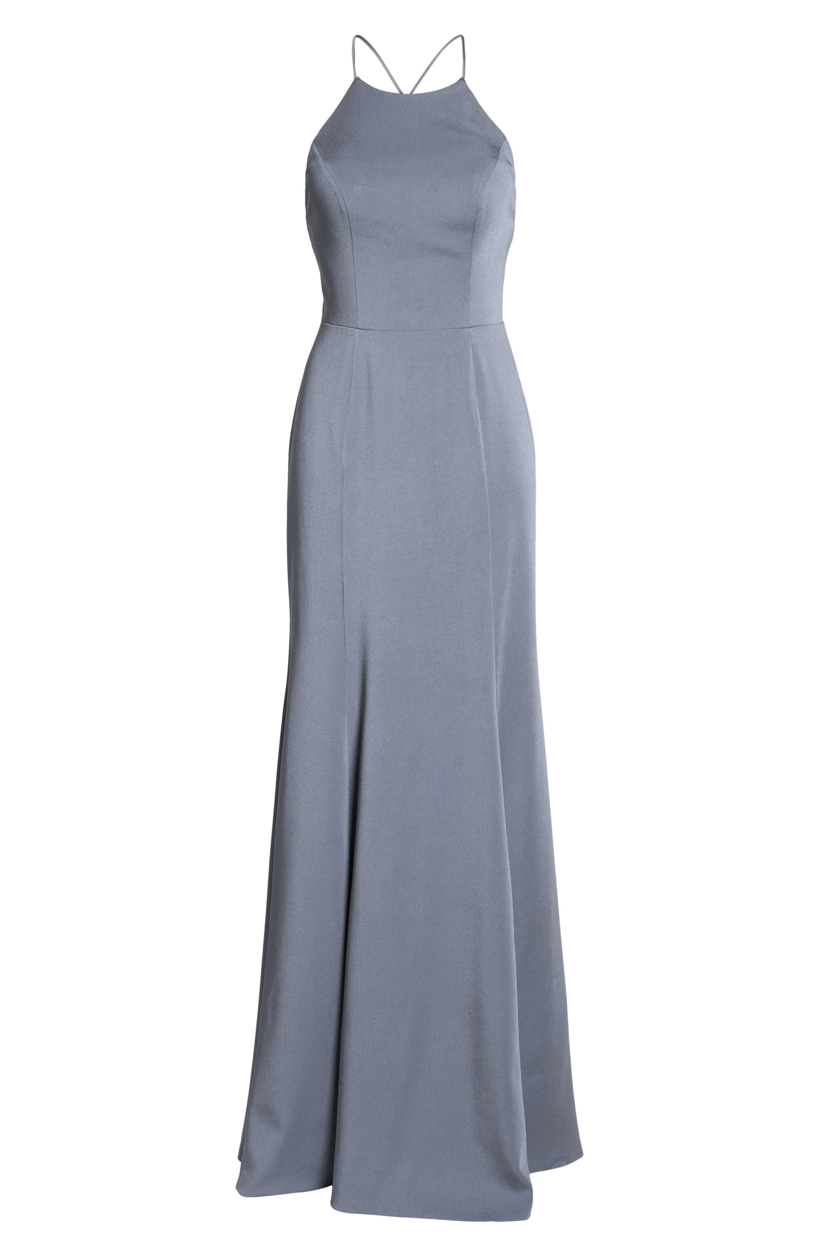 Naomi Luxe Crepe Halter Gown,                             Alternate thumbnail 8, color,                             HYDRANGEA