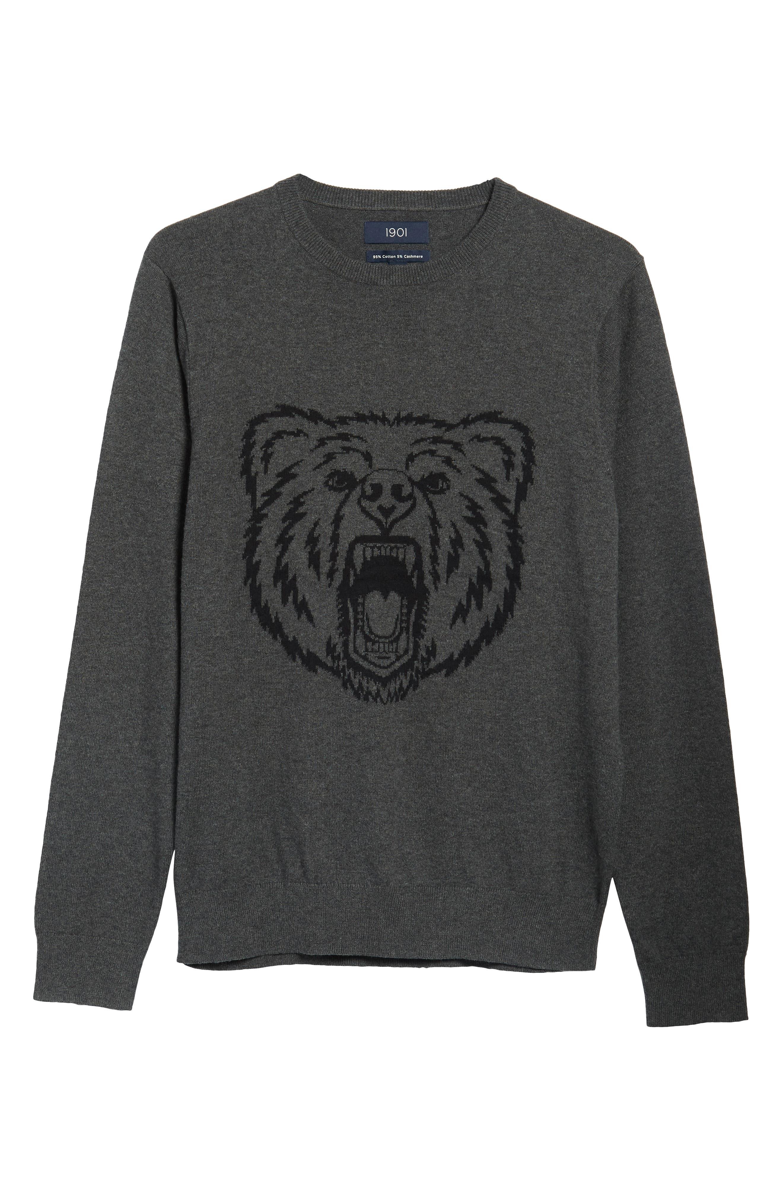 Bear Crewneck Sweater,                             Alternate thumbnail 6, color,                             GREY CASTLEROCK MARL BEAR