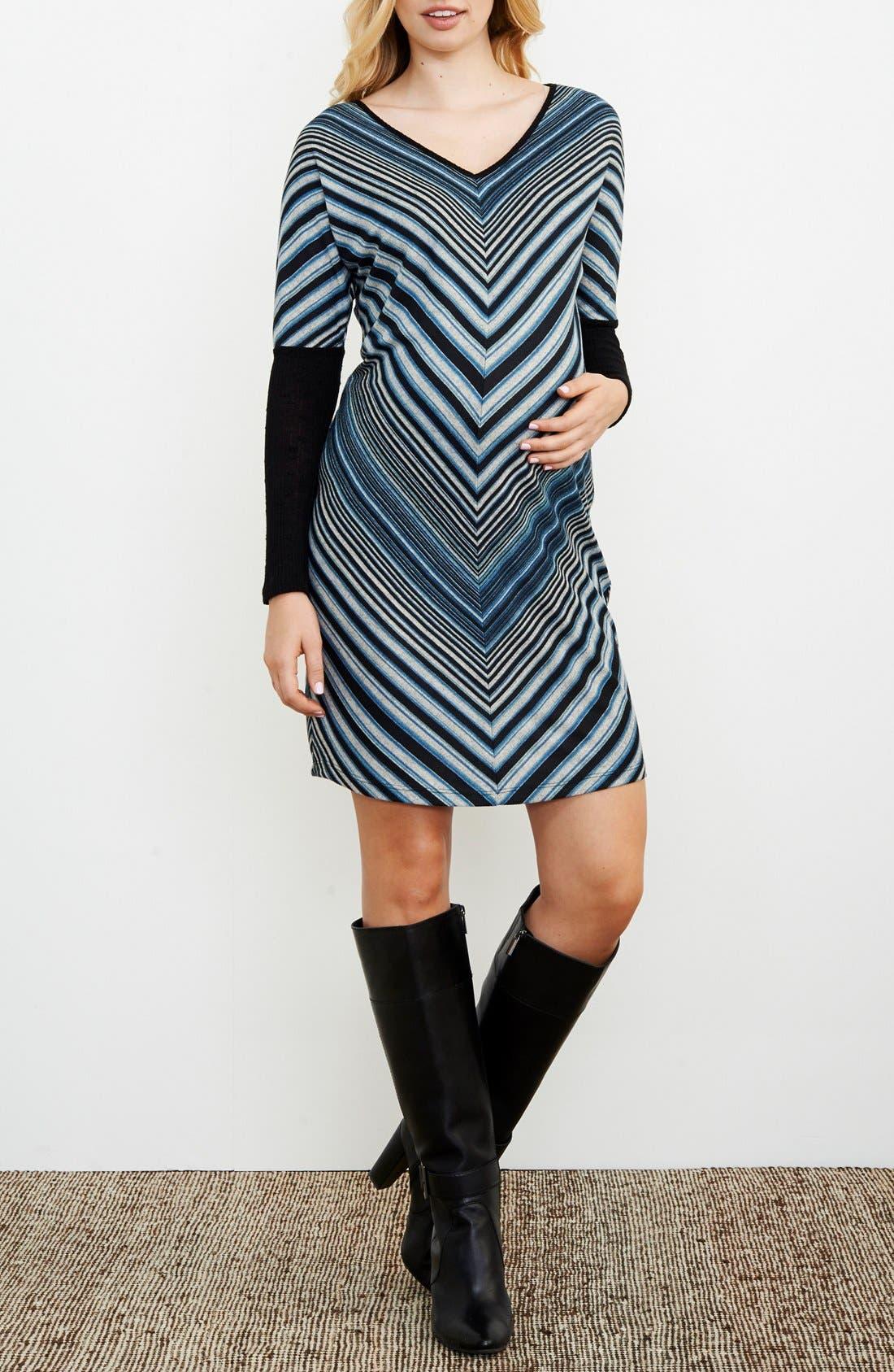 Bias Stripe Maternity Dress,                             Main thumbnail 1, color,                             TEAL STRIPES