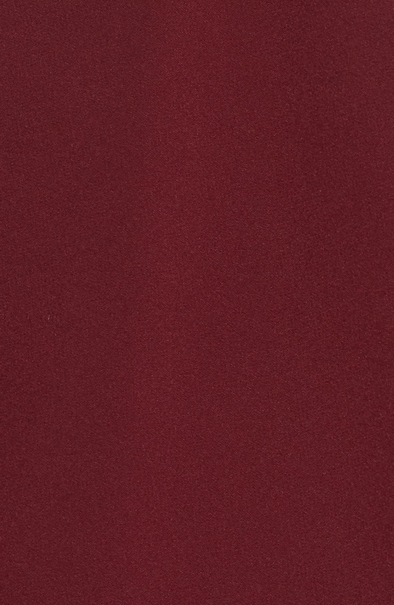 Beaded Illusion Neck Skater Dress,                             Alternate thumbnail 5, color,                             BURGUNDY