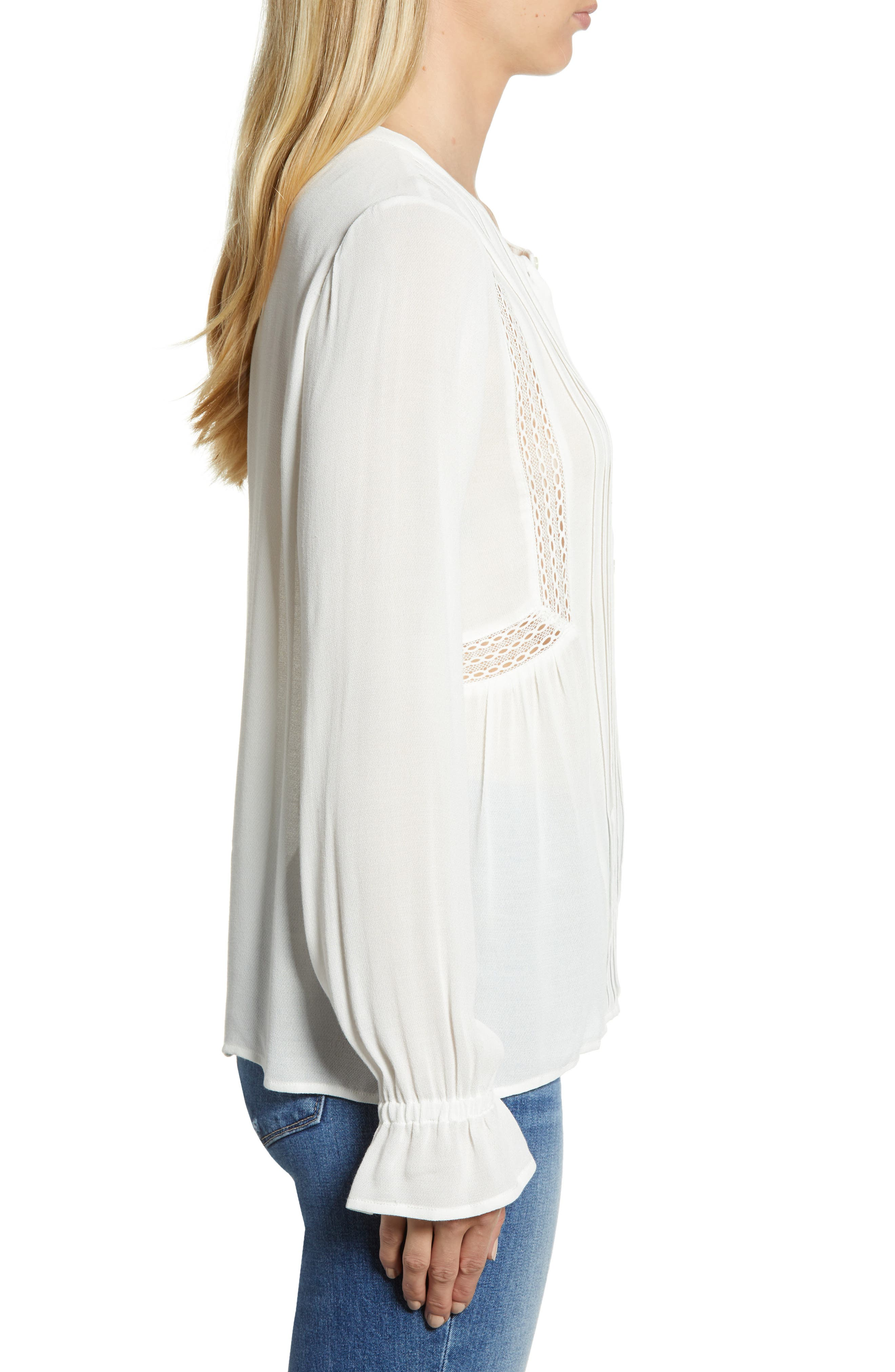 Lace Detail Top,                             Alternate thumbnail 3, color,                             LUCKY WHITE