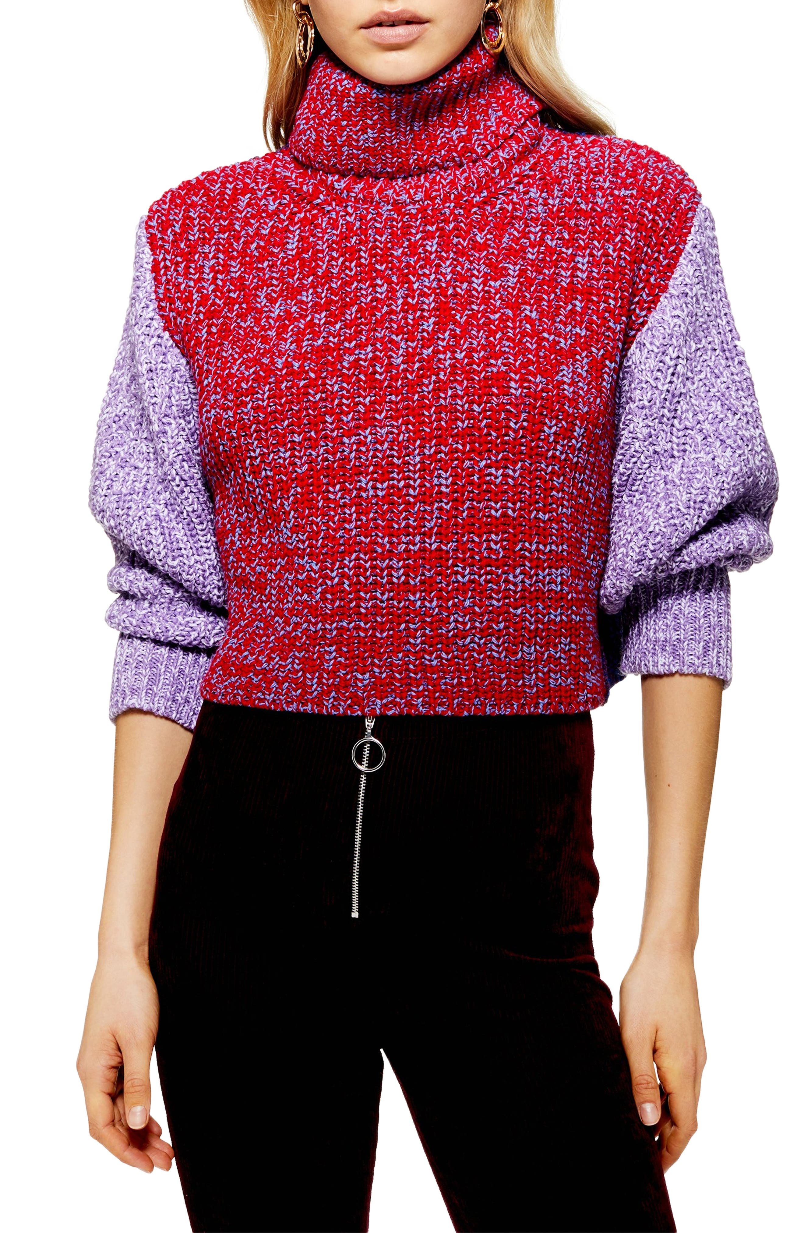 TOPSHOP,                             Three Color Roll Neck Sweater,                             Main thumbnail 1, color,                             RED MULTI