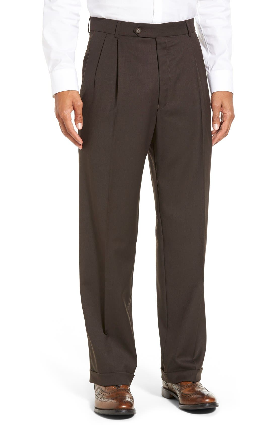 Pleated Solid Wool Trousers,                             Main thumbnail 7, color,