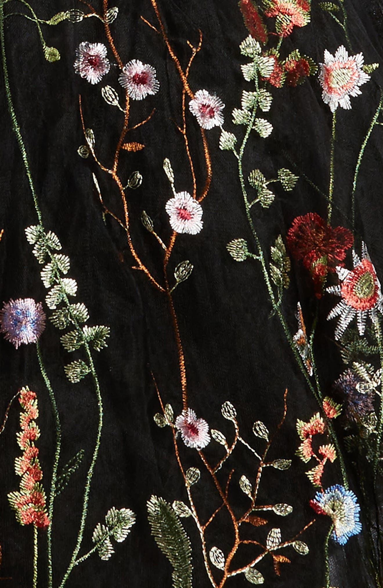 Charisse Embroidered Floral Dress,                             Alternate thumbnail 3, color,                             001