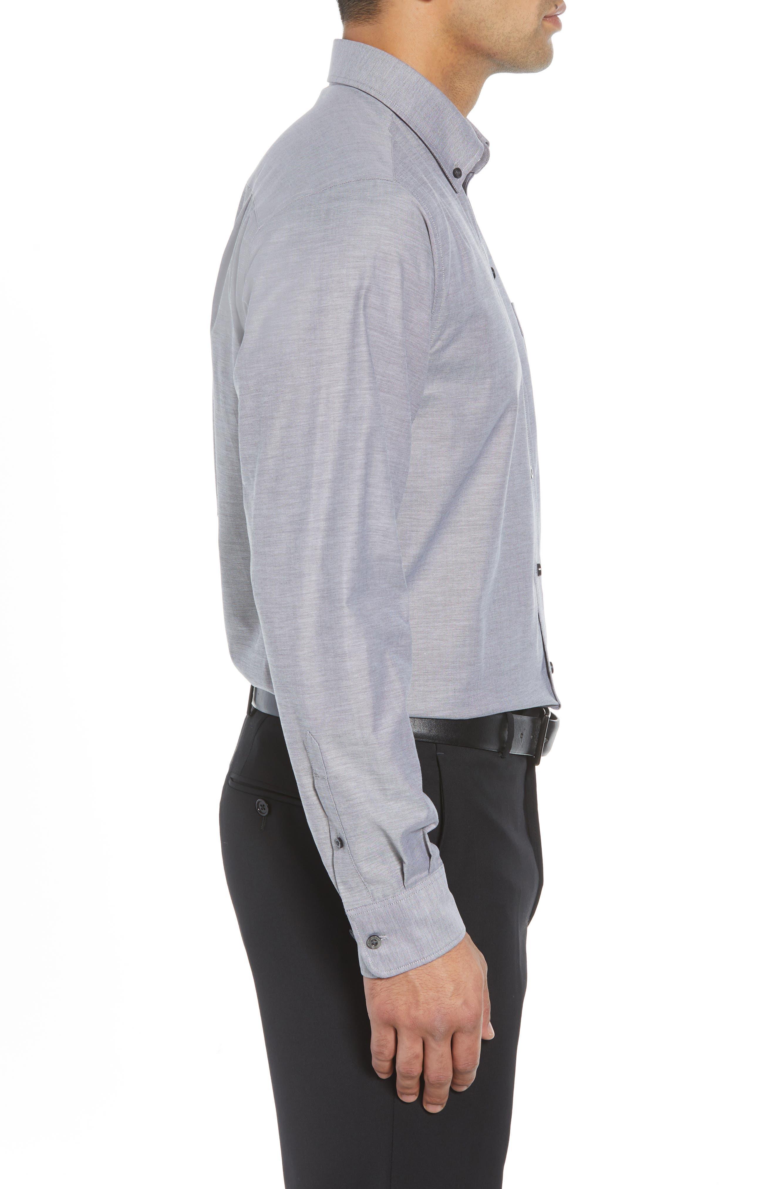Tailor Regular Fit Oxford Sport Shirt,                             Alternate thumbnail 4, color,                             CHARCOAL 2