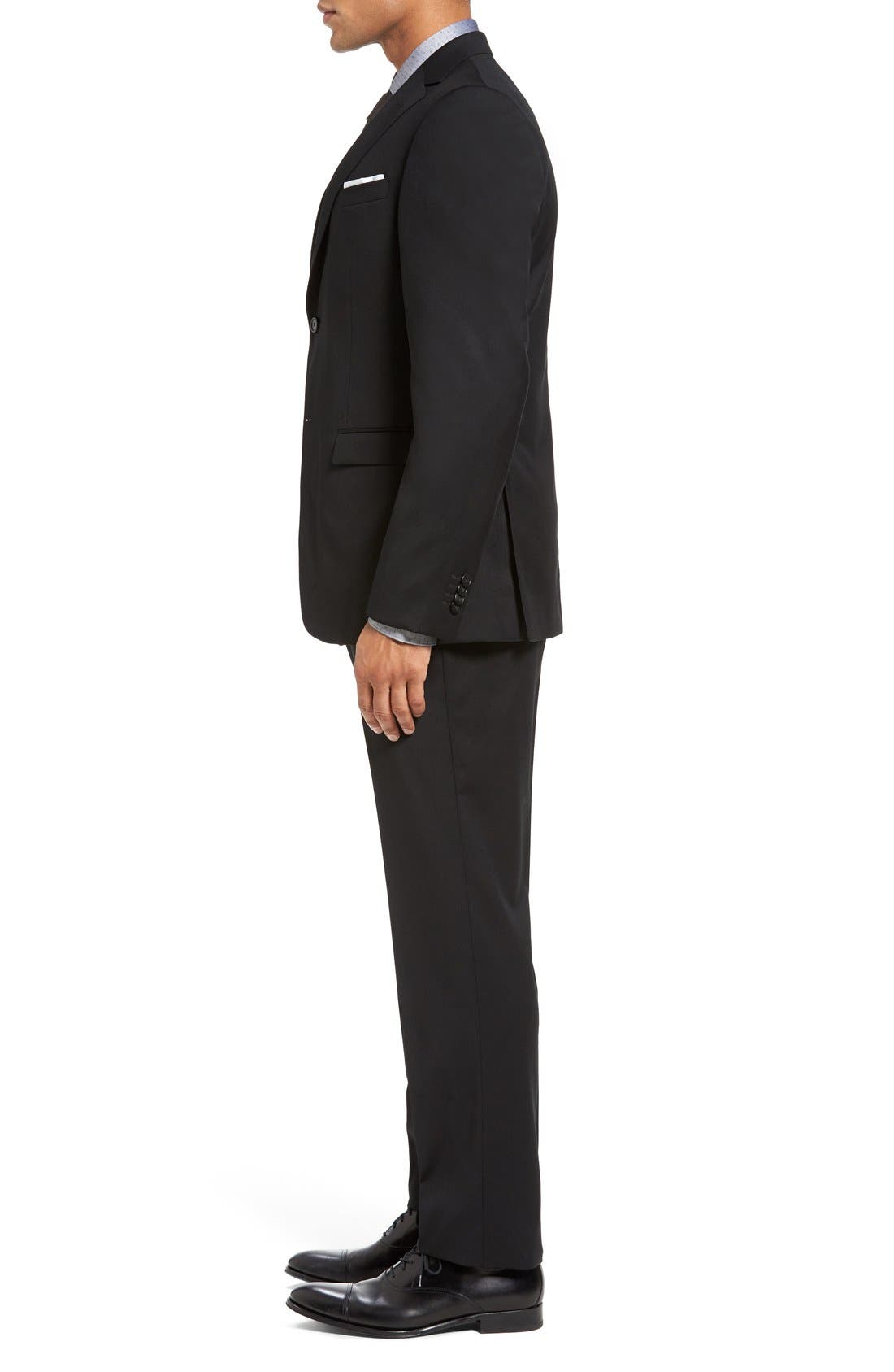 Drop 7 Trim Fit Wool Suit,                             Alternate thumbnail 6, color,                             001