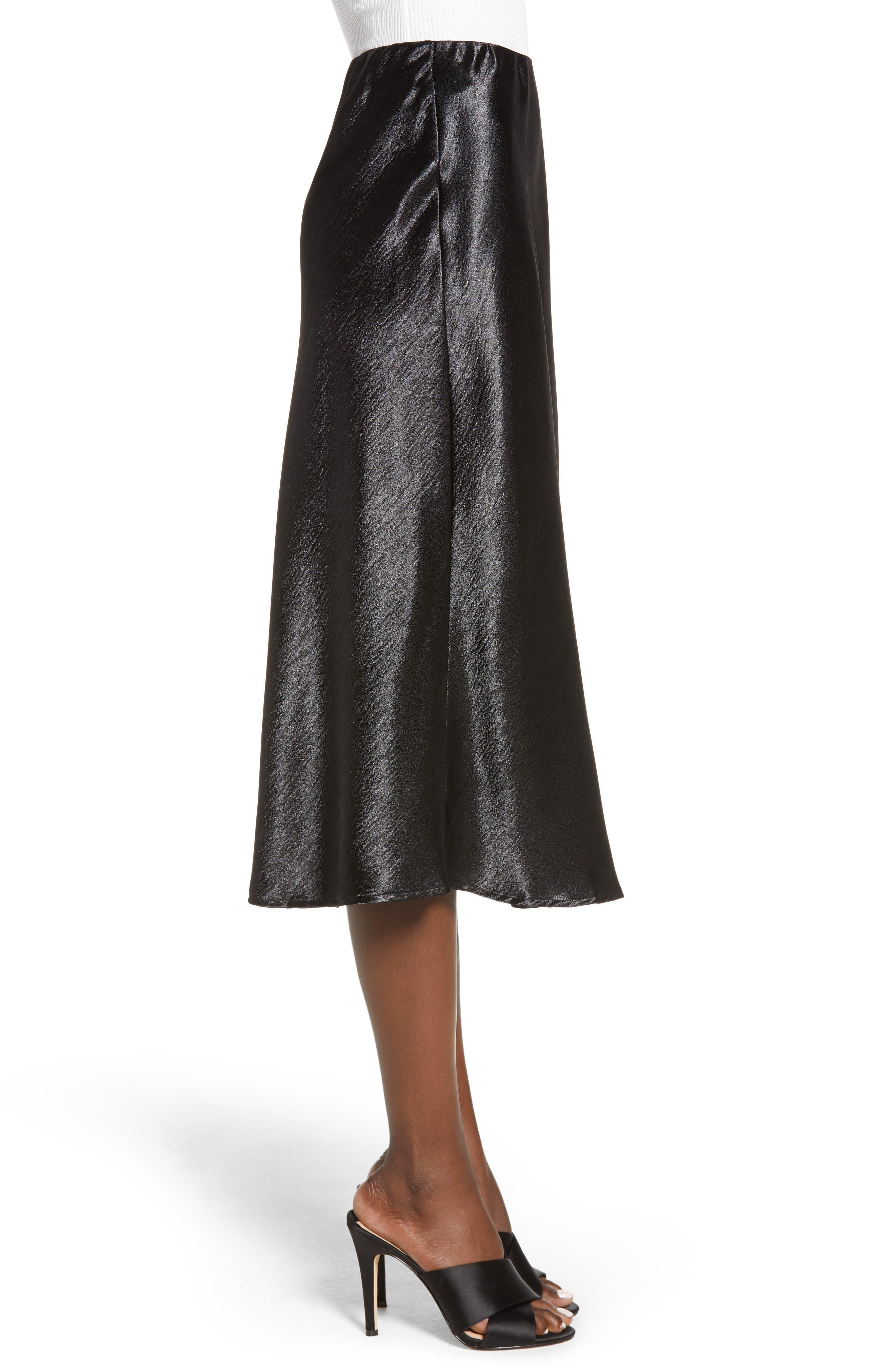 Satin Midi Skirt,                             Alternate thumbnail 3, color,                             BLACK