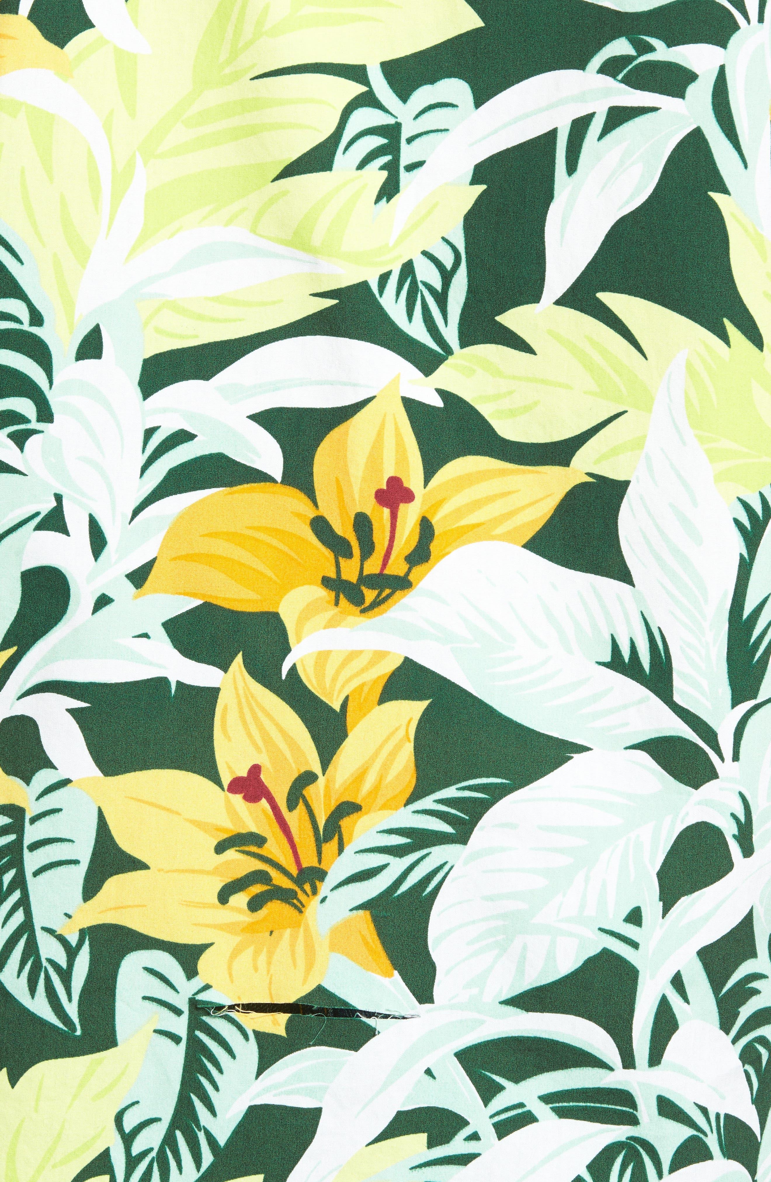 Slim Fit Tropical Sport Shirt,                             Alternate thumbnail 5, color,                             100
