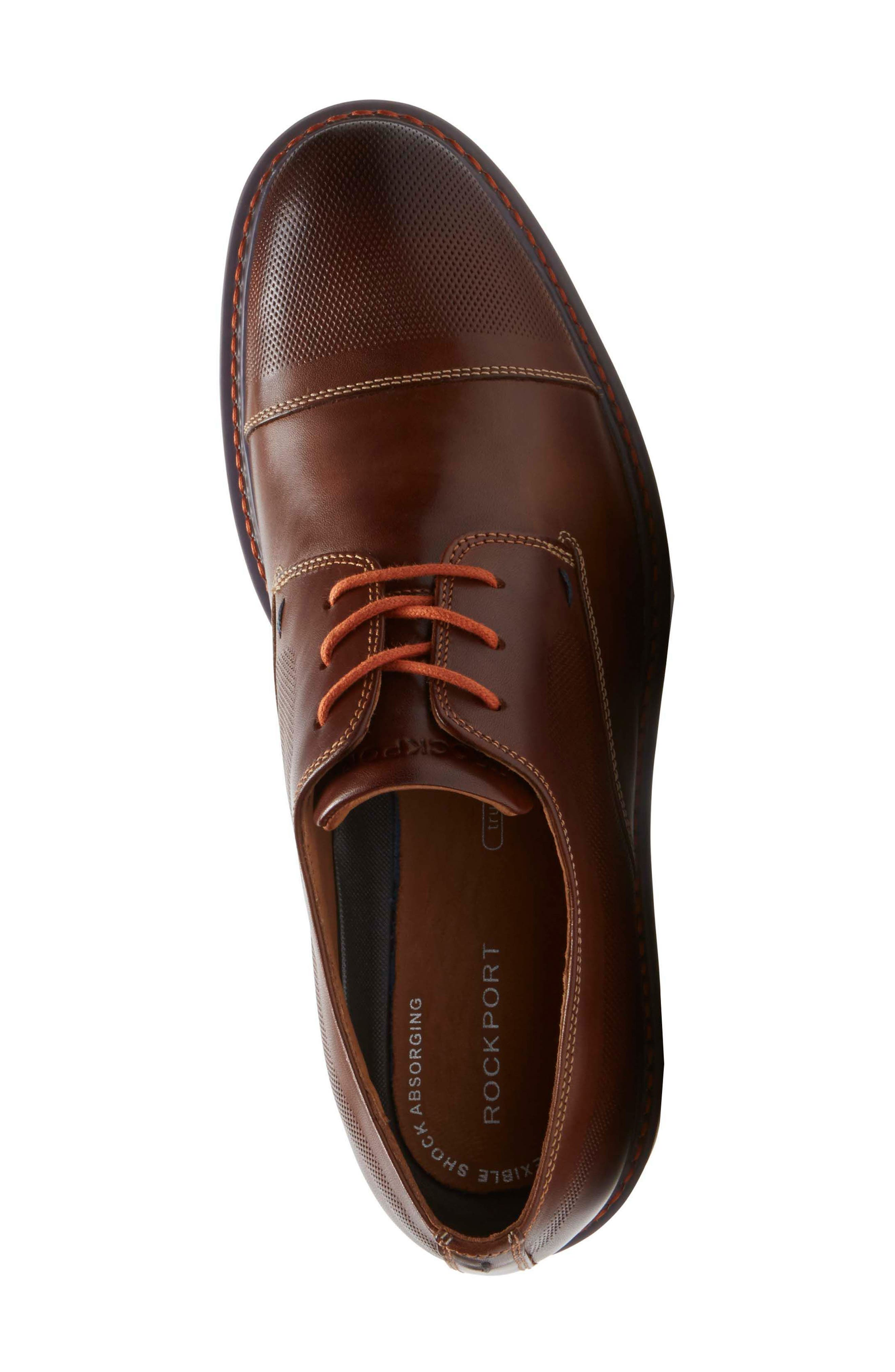Jaxson Cap Toe Derby,                             Alternate thumbnail 4, color,                             BROWN LEATHER