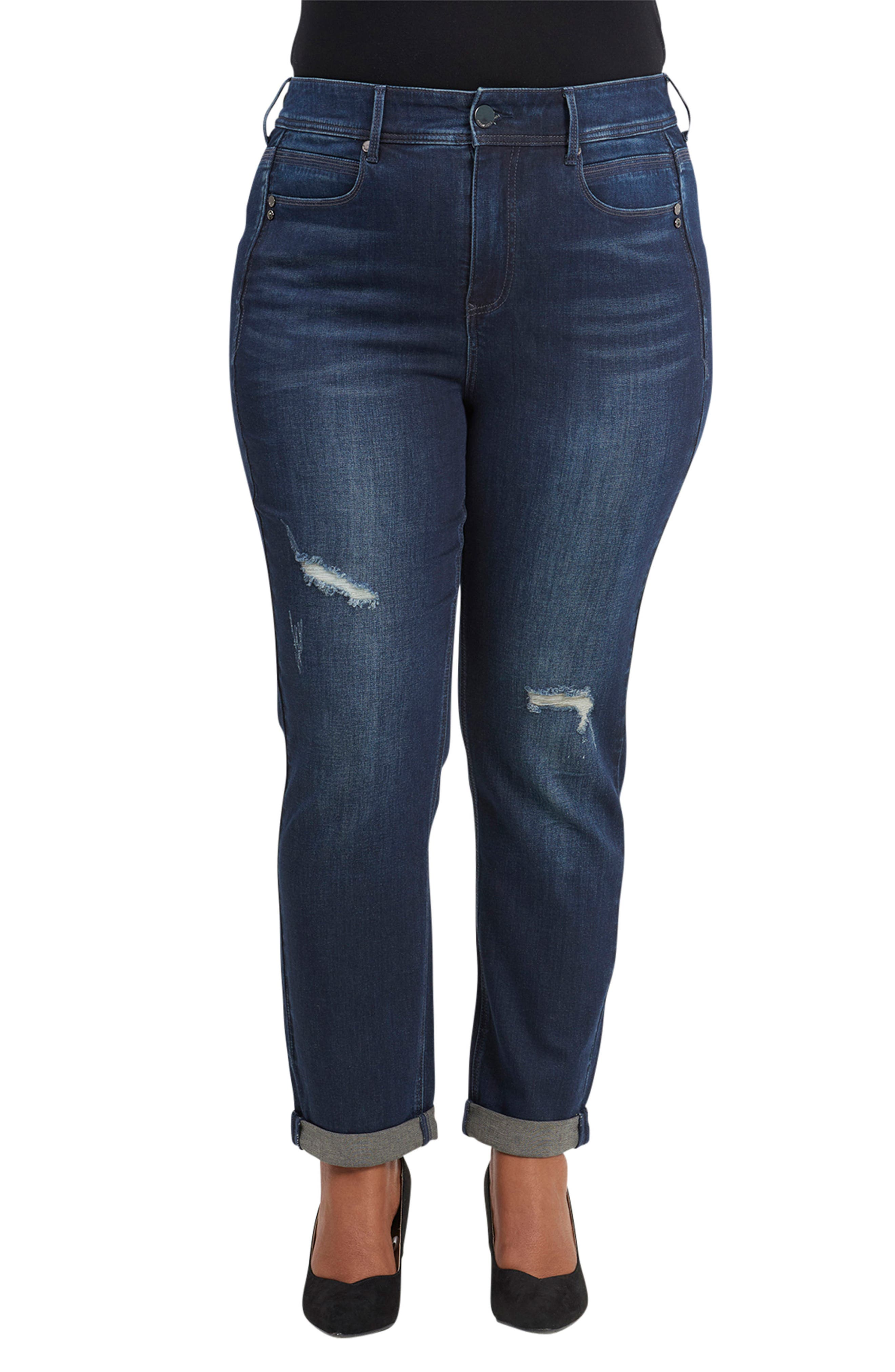 Tummyless High Rise Roll Cuff Slim Fit Jeans,                         Main,                         color, TWAIN