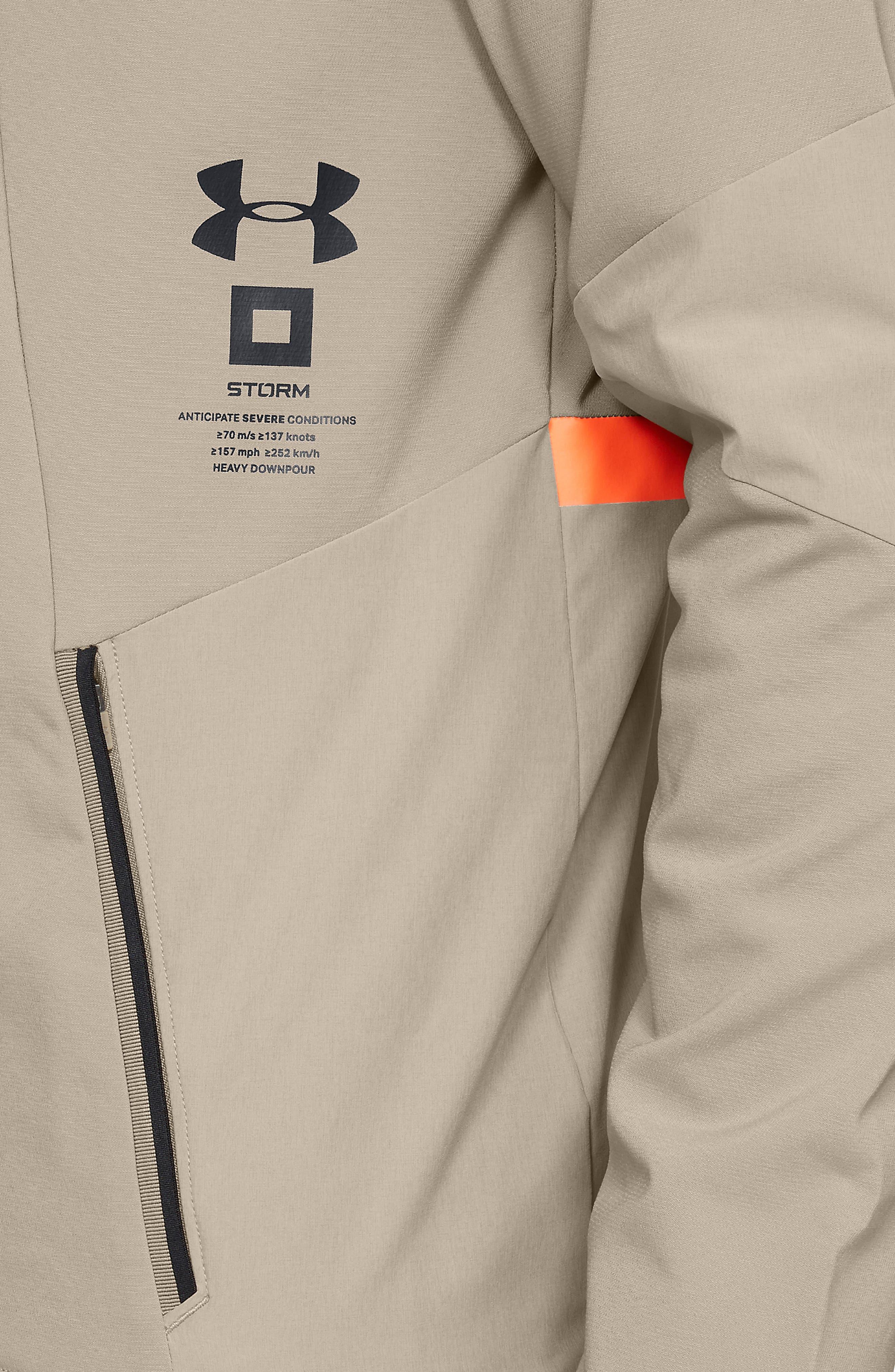 Storm Cyclone Water Repellent Hooded Jacket,                             Alternate thumbnail 4, color,                             CITY KHAKI/ BLACK