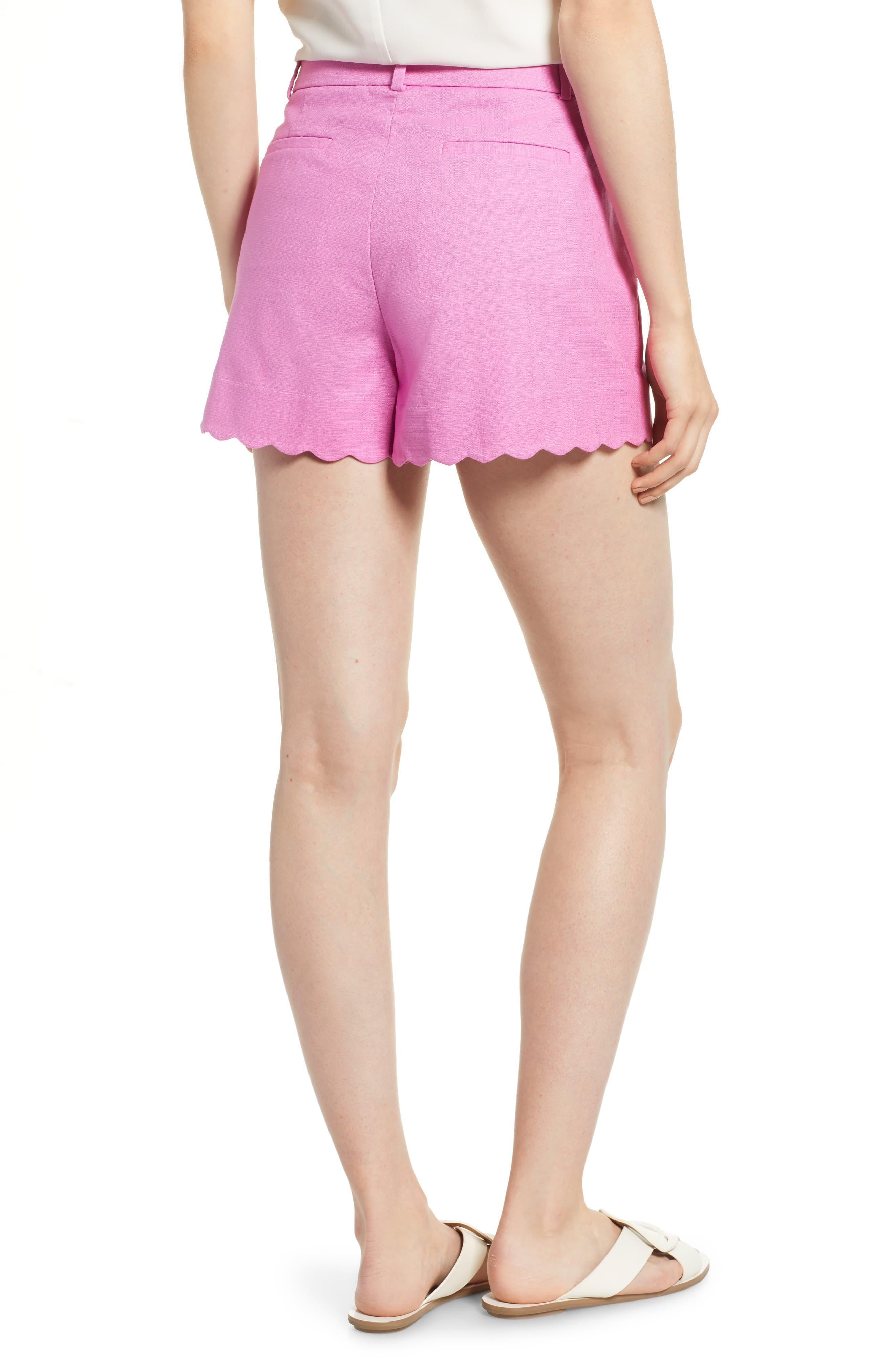 Fiesta Scallop Hem Stretch Cotton Shorts,                             Alternate thumbnail 7, color,