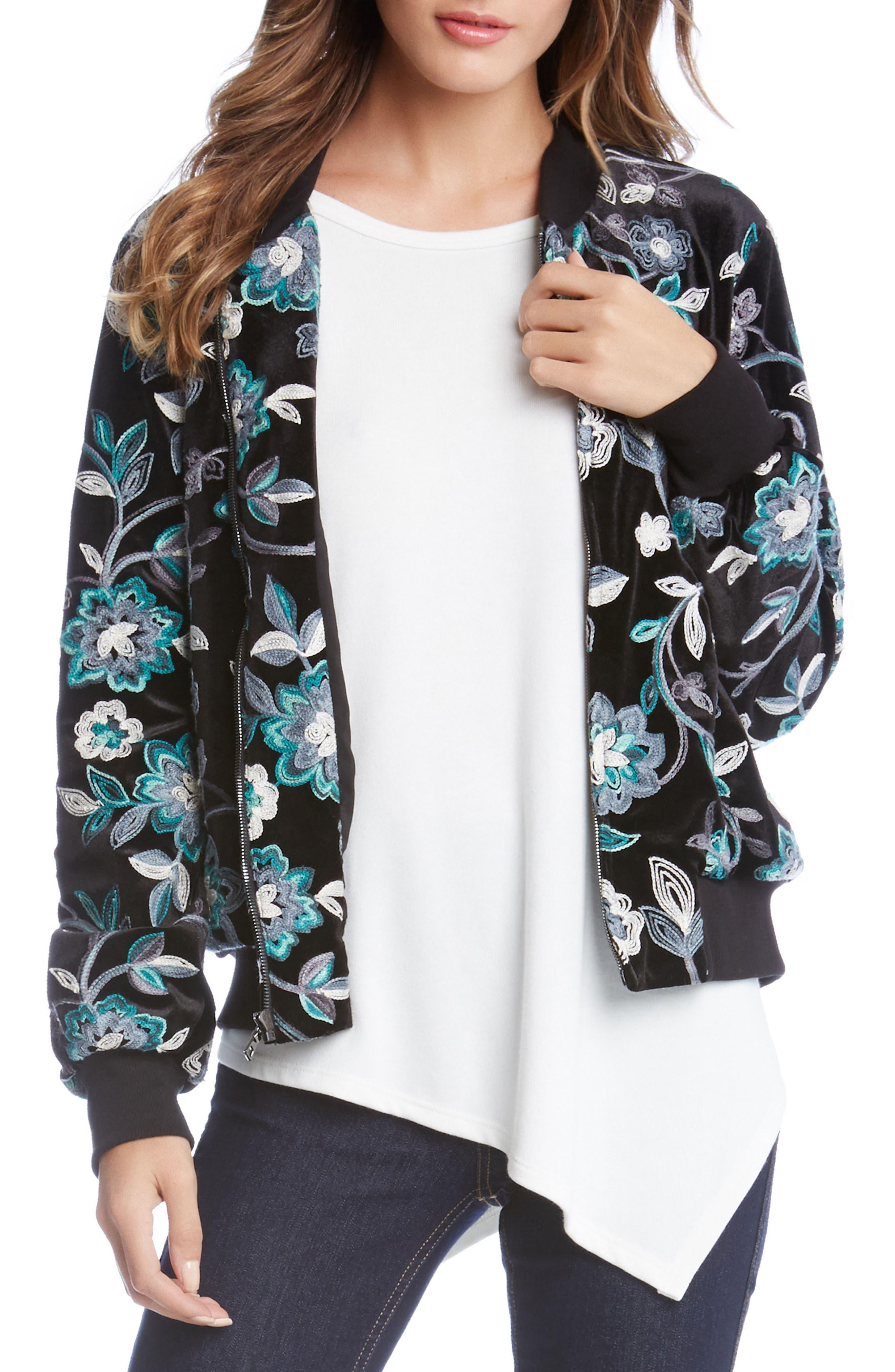 Embroidered Velvet Bomber Jacket,                         Main,                         color, 008