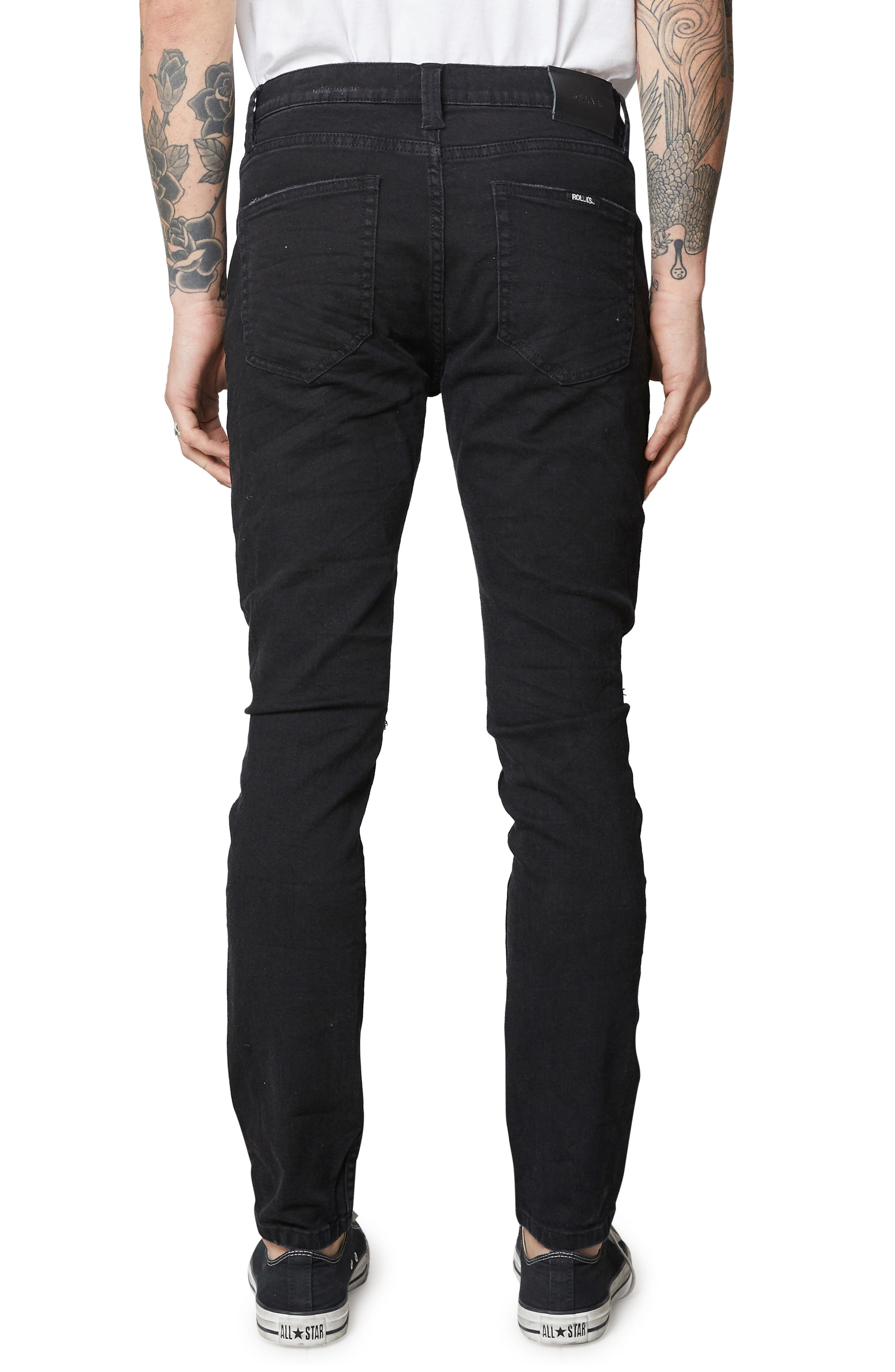 Stinger Skinny Fit Jeans,                             Alternate thumbnail 2, color,                             BLACK RIP