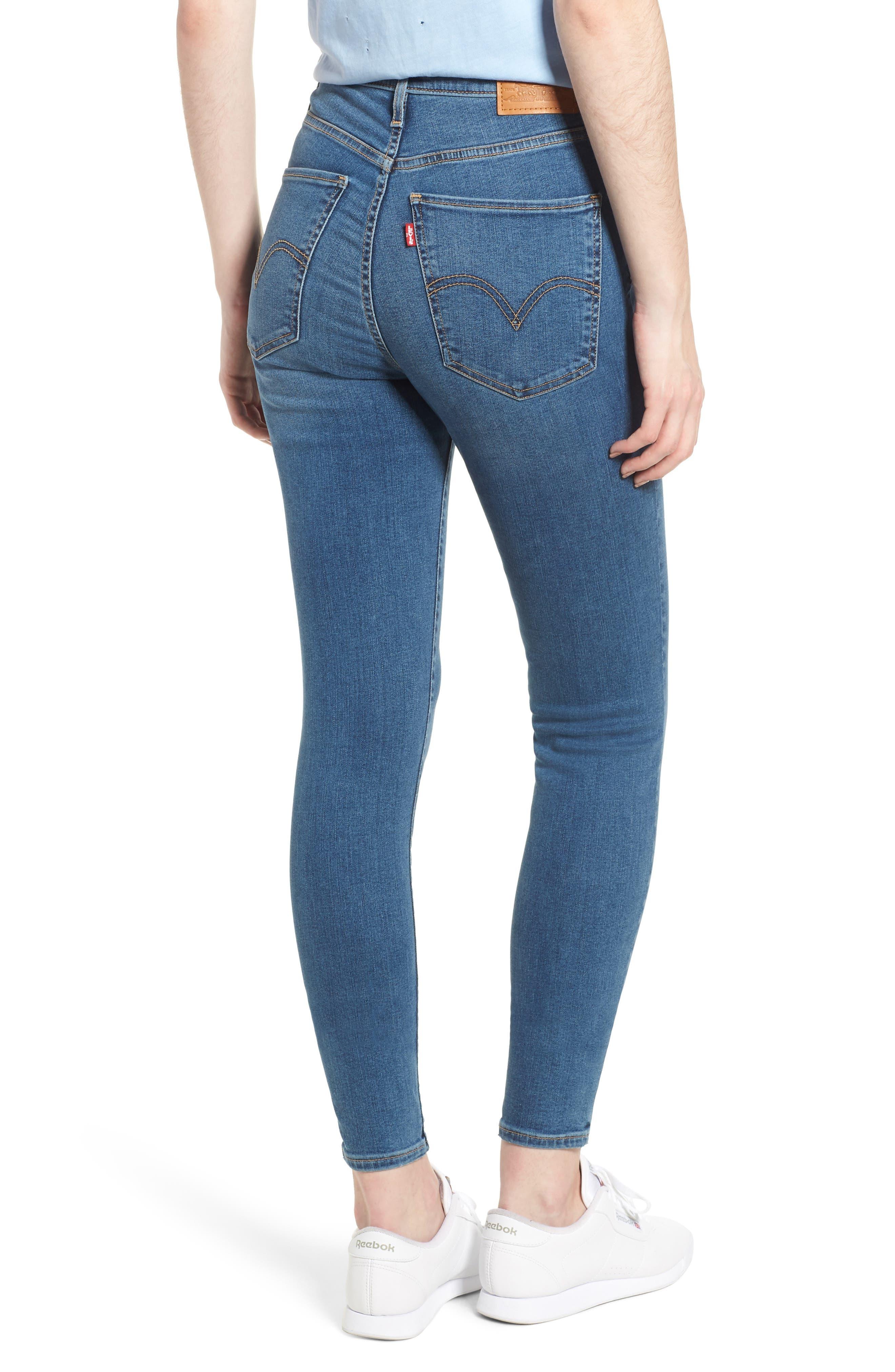 Mile High Super Skinny Jeans,                             Alternate thumbnail 2, color,                             MED BLUE 1