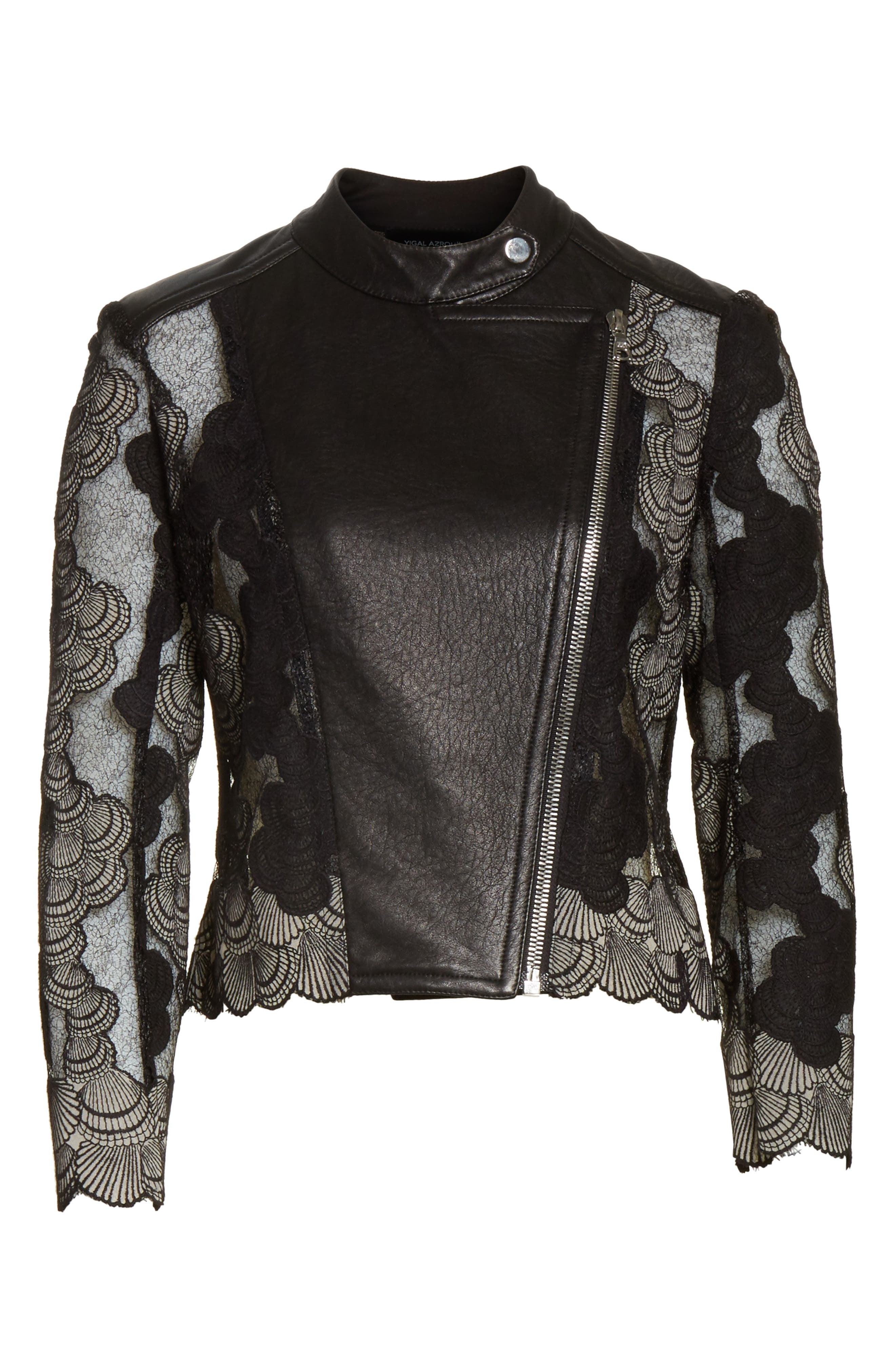 Seashell Lace Moto Jacket,                             Alternate thumbnail 5, color,                             001