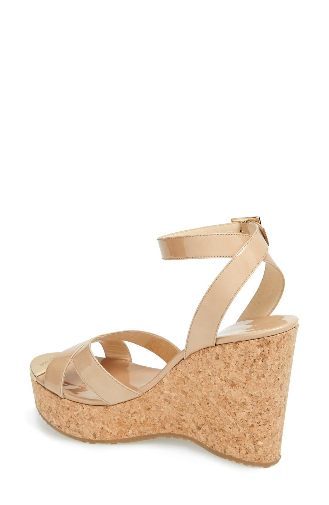 JIMMY CHOO,                             'Papyrus' Cork Wedge Sandal,                             Alternate thumbnail 4, color,                             250