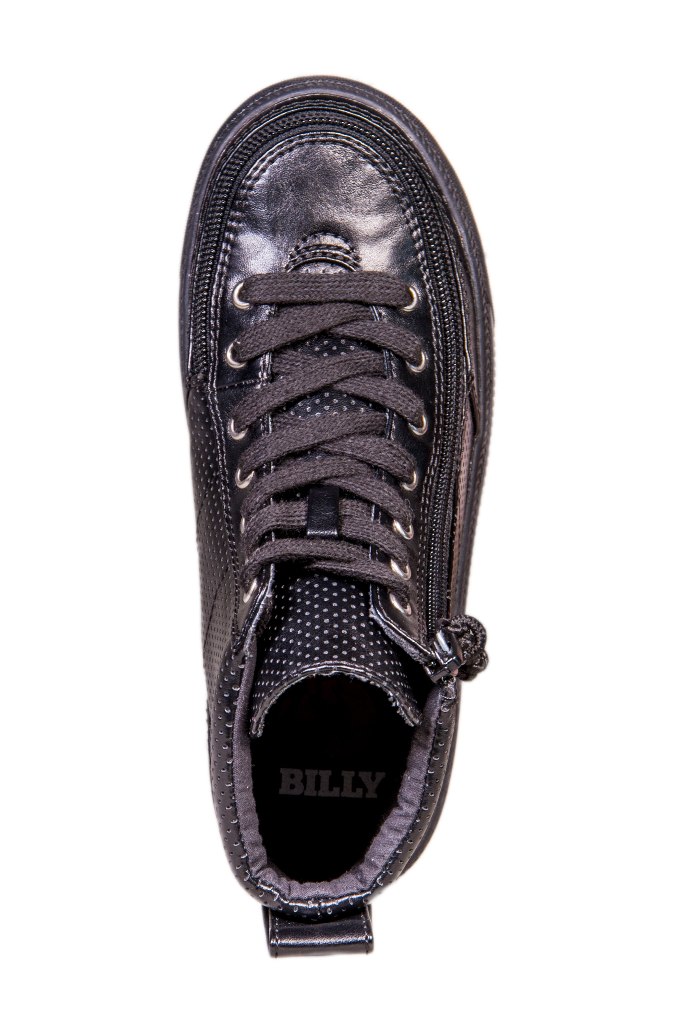 Zip Around Perforated High Top Sneaker,                             Alternate thumbnail 4, color,                             001