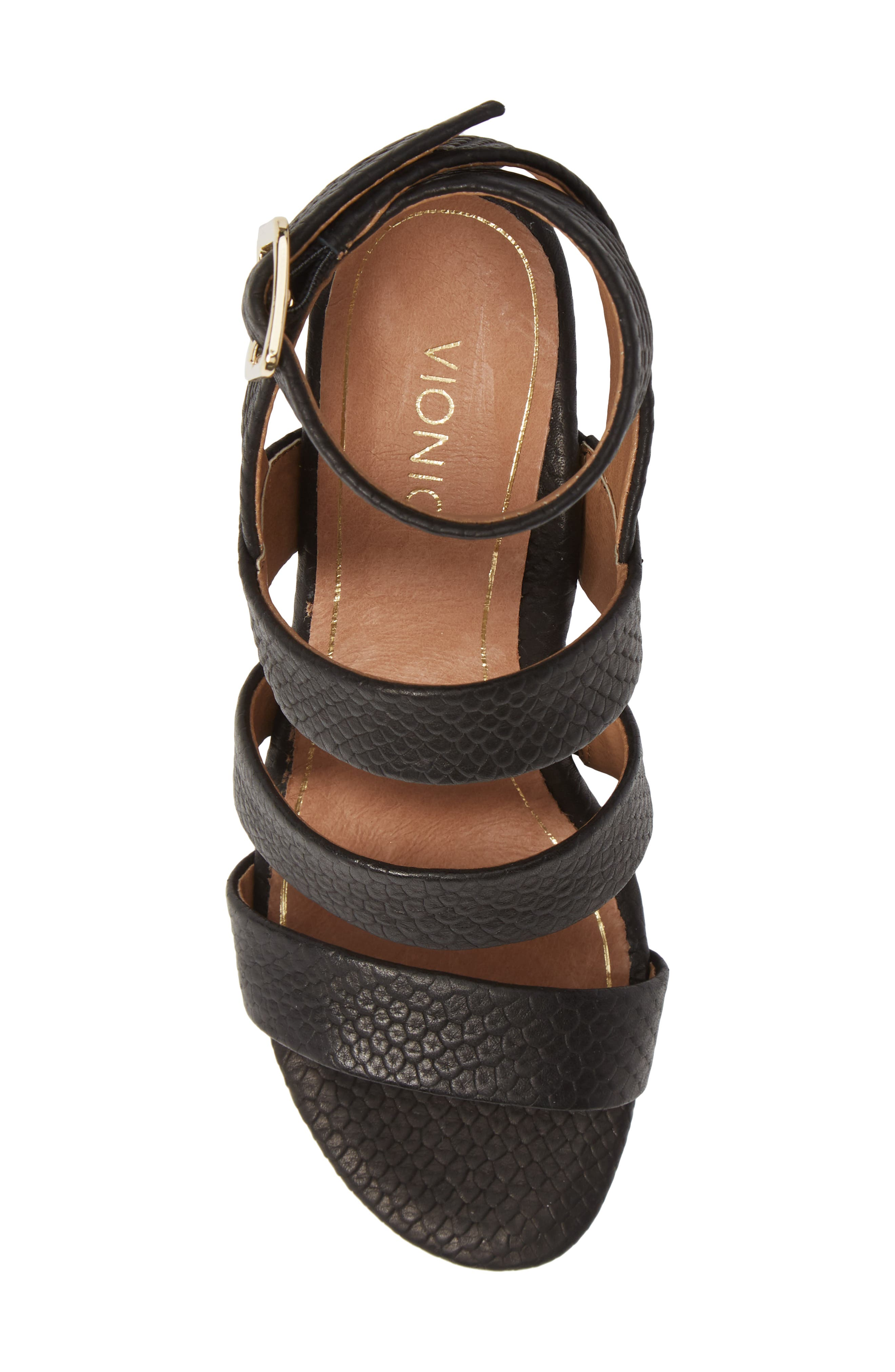Blaire Block Heel Sandal,                             Alternate thumbnail 5, color,                             BLACK SNAKE EMBOSSED LEATHER