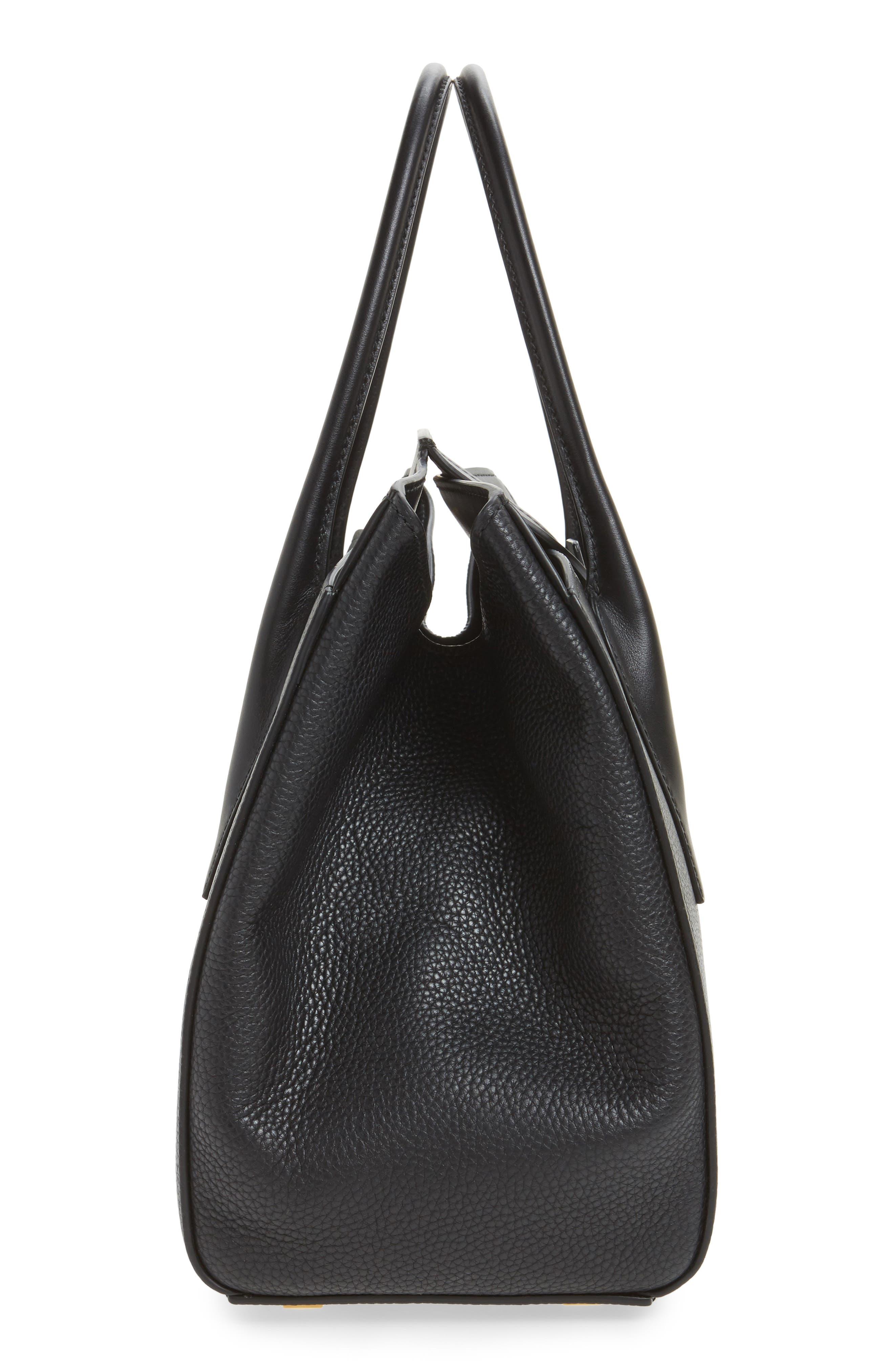 Large Bancroft Leather Top Handle Satchel,                             Alternate thumbnail 5, color,                             001