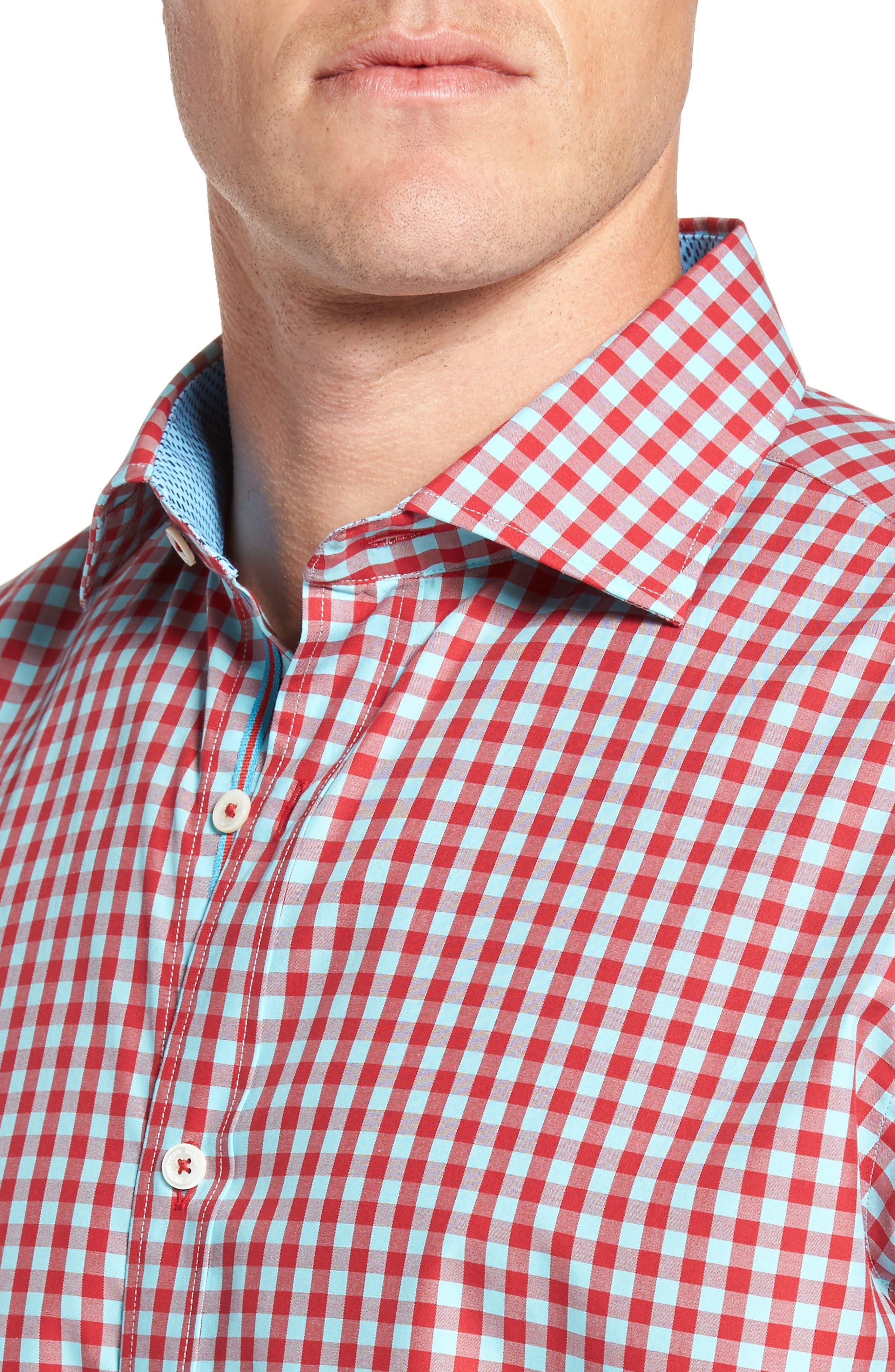 Classic Fit Gingham Short Sleeve Sport Shirt,                             Alternate thumbnail 4, color,                             602