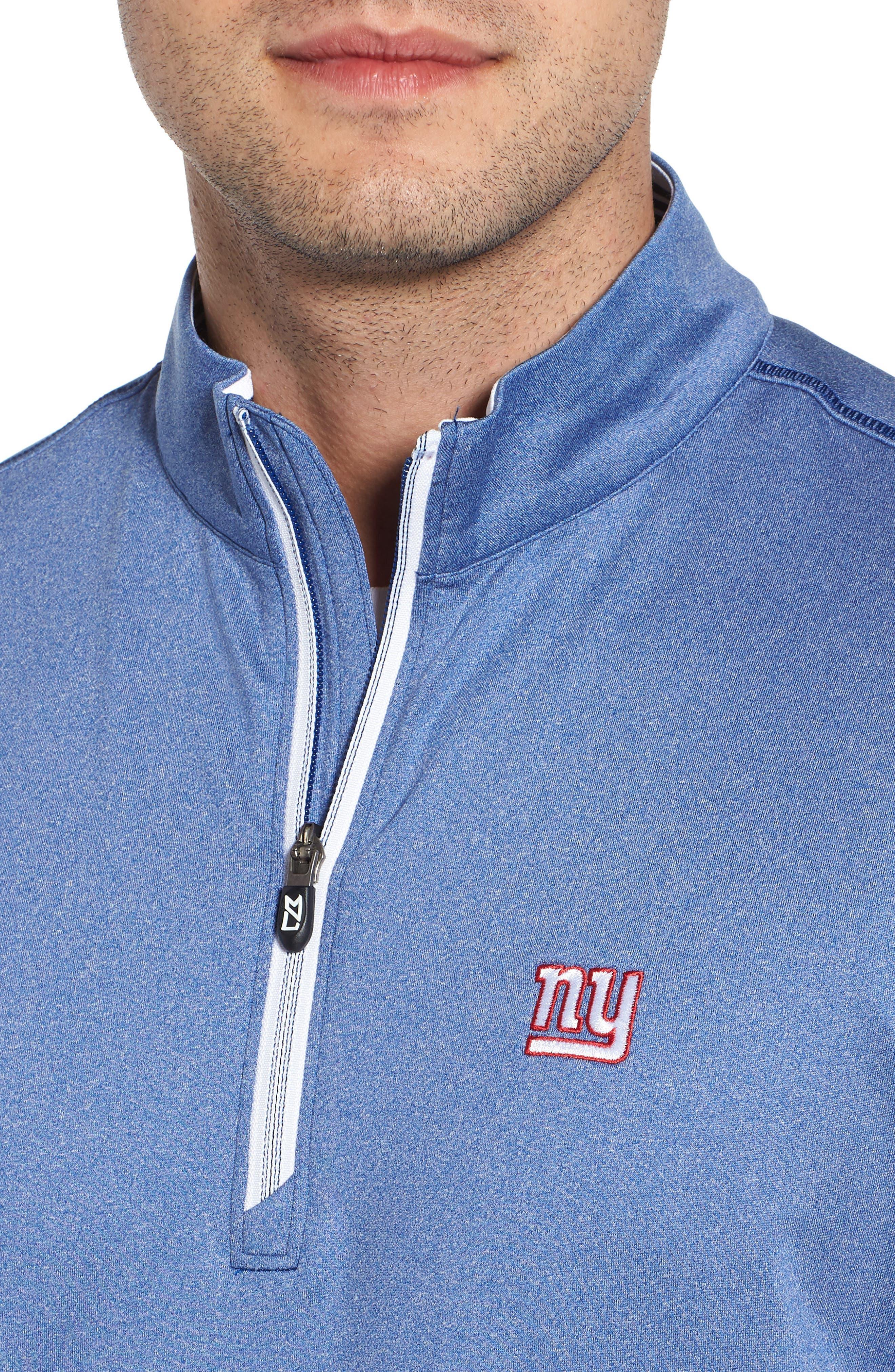 Endurance New York Giants Regular Fit Pullover,                             Alternate thumbnail 4, color,                             TOUR BLUE HEATHER