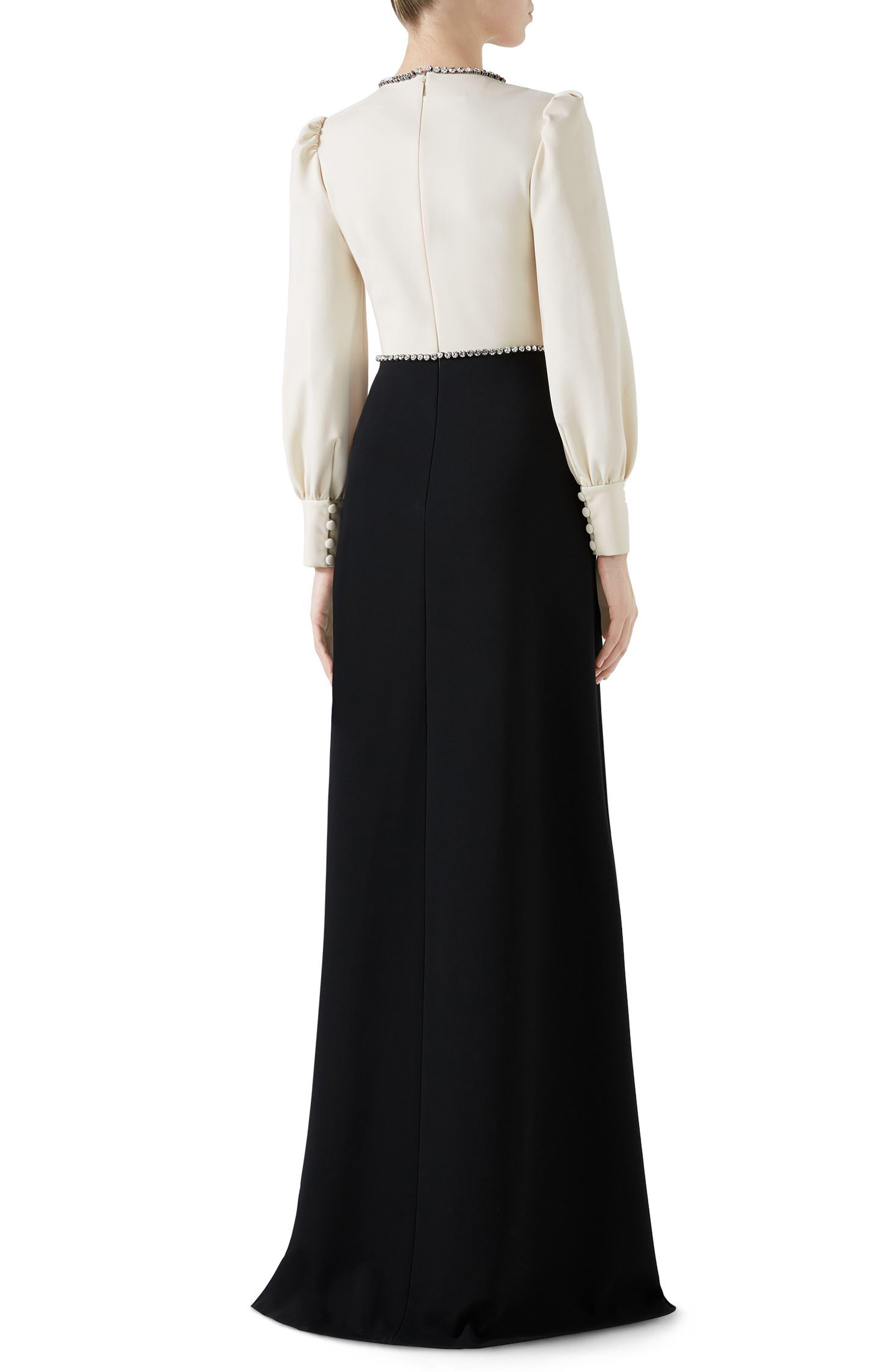 Trompe L'Oeil Bow Stretch Jersey Gown,                             Alternate thumbnail 2, color,                             BLACK/ ALMOND FLOWER