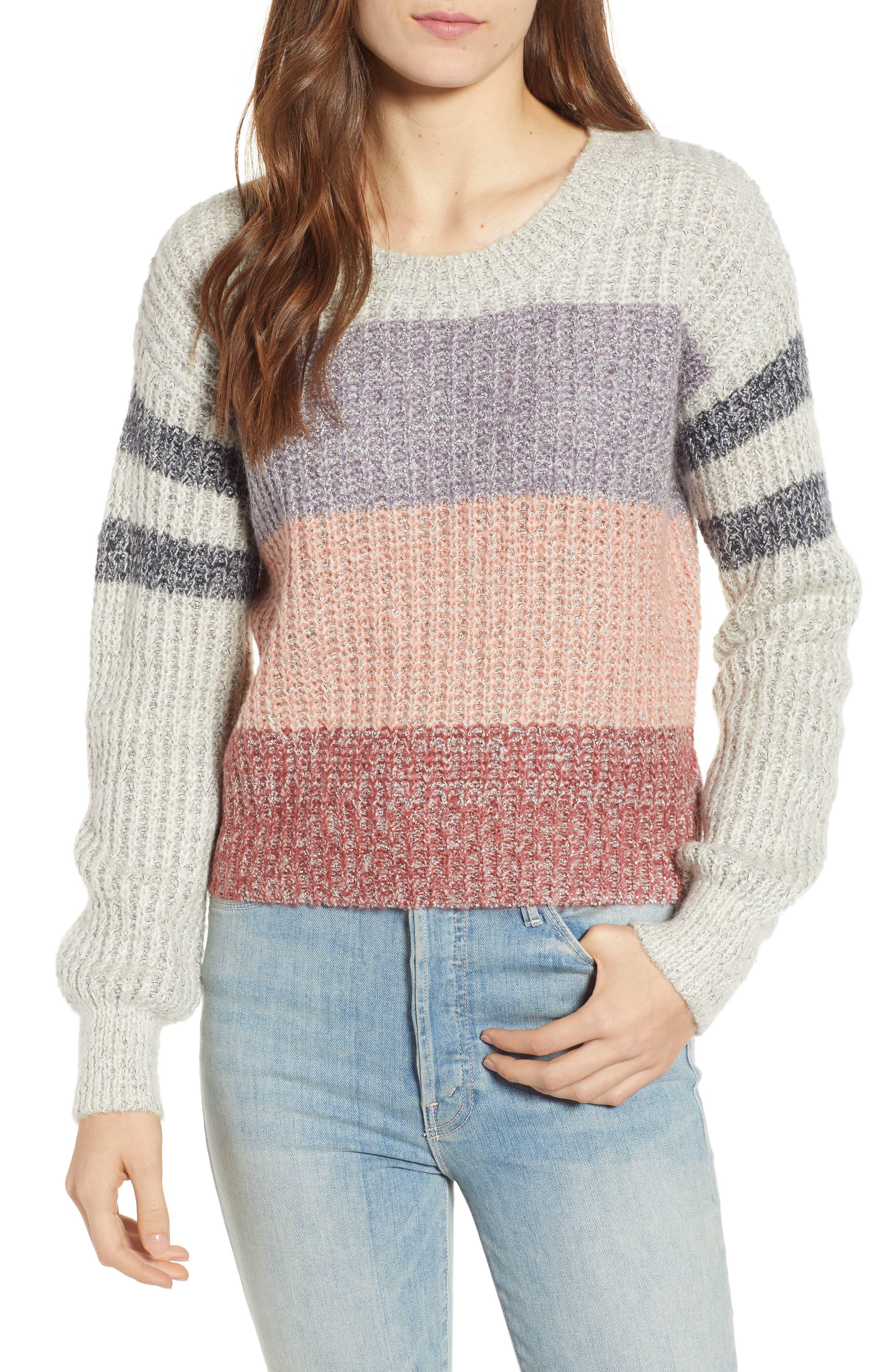 Heartloom Elise Stripe Sweater, Grey