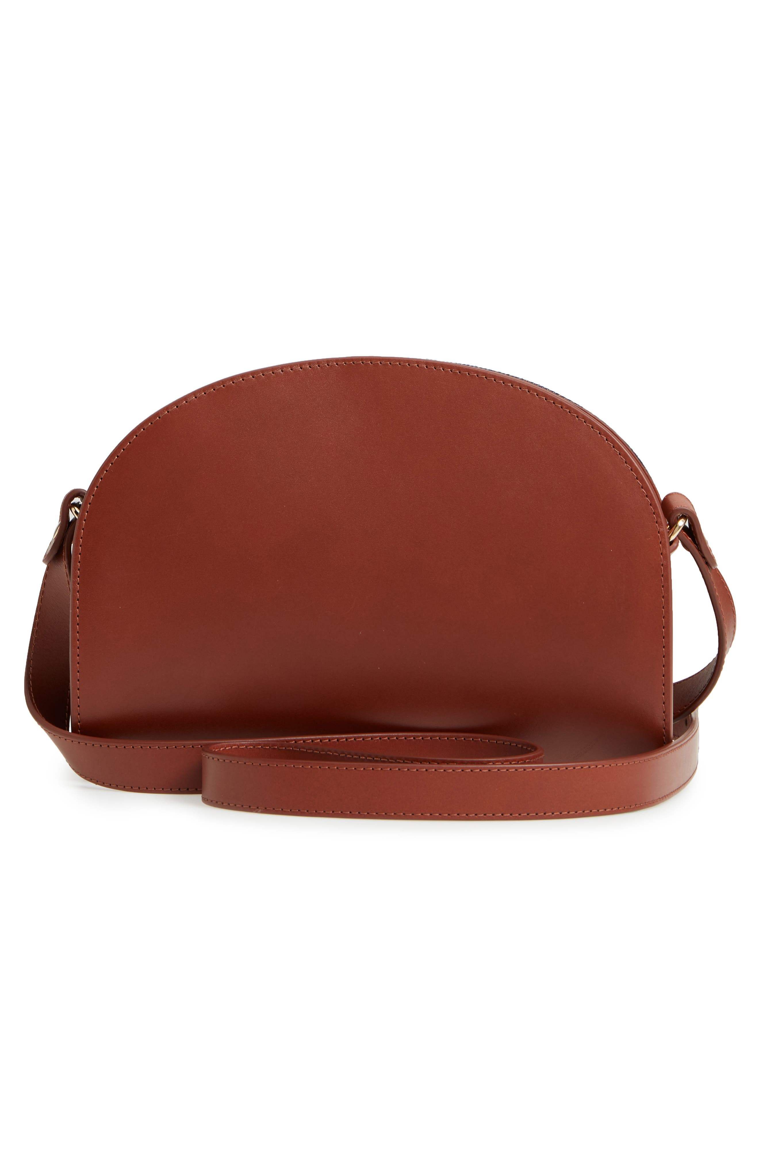 Sac Demilune Leather & Denim Crossbody Bag,                             Alternate thumbnail 3, color,                             NOISETTE CAD