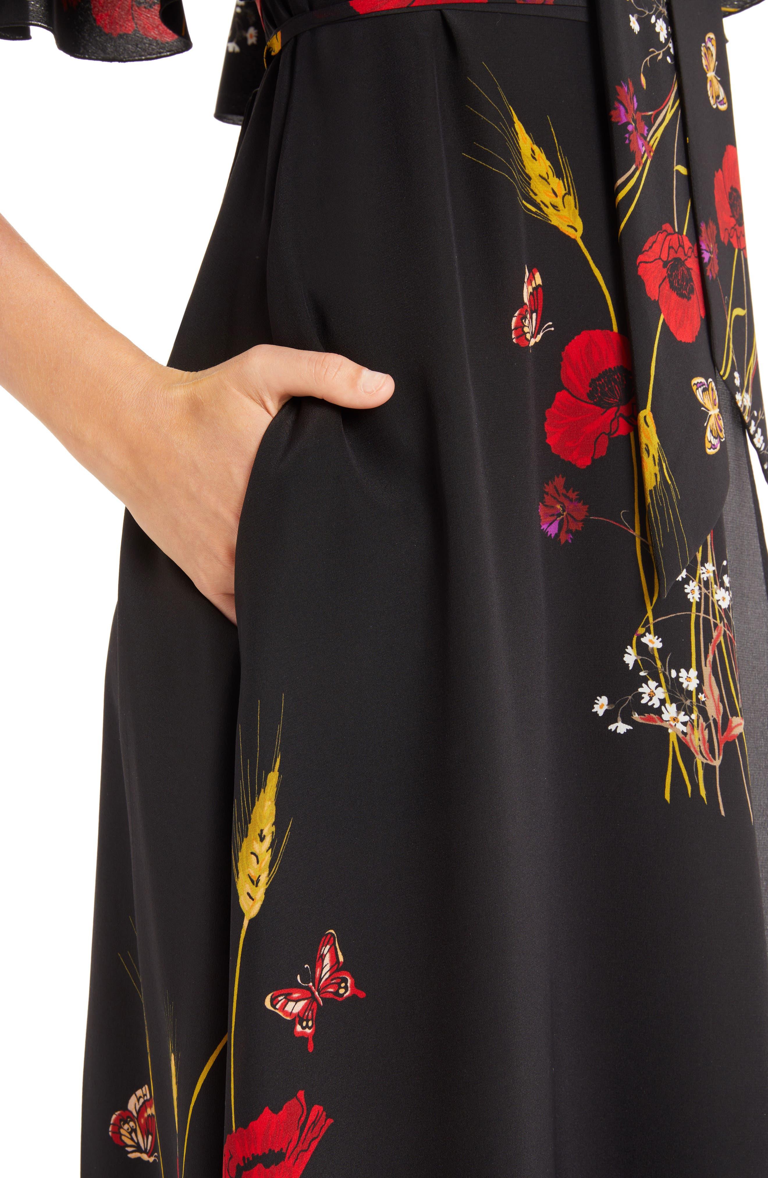 Floral Meadow Print Crêpe de Chine Faux Wrap Dress,                             Alternate thumbnail 4, color,                             BLACK/ MULTI COLOR