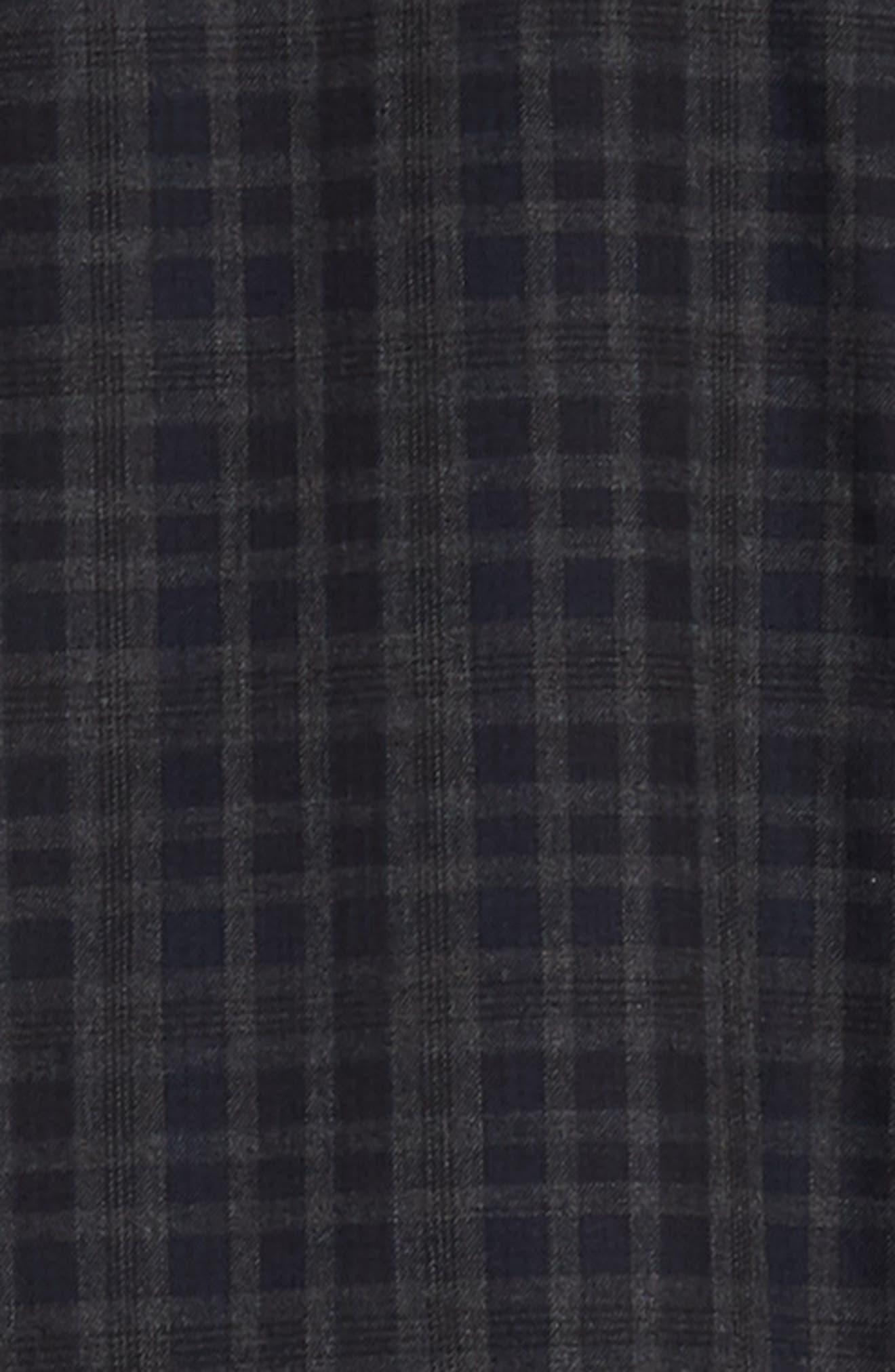 Slim Fit Check Flannel Sport Shirt,                             Alternate thumbnail 6, color,                             BLACK HEATHER NAVY CHECK