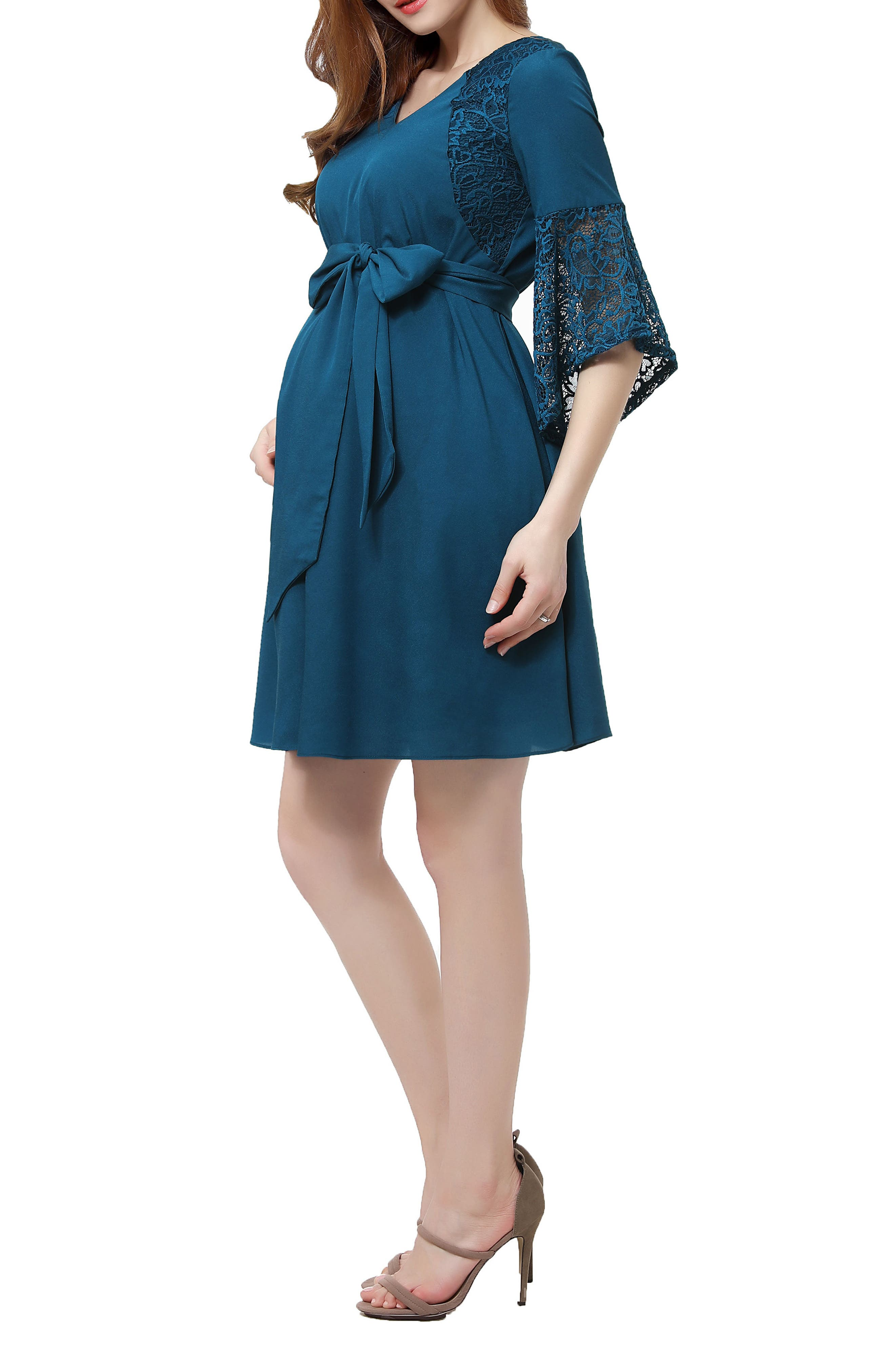 Abbey Lace Trim Maternity Dress,                             Alternate thumbnail 3, color,                             DEEP SEA
