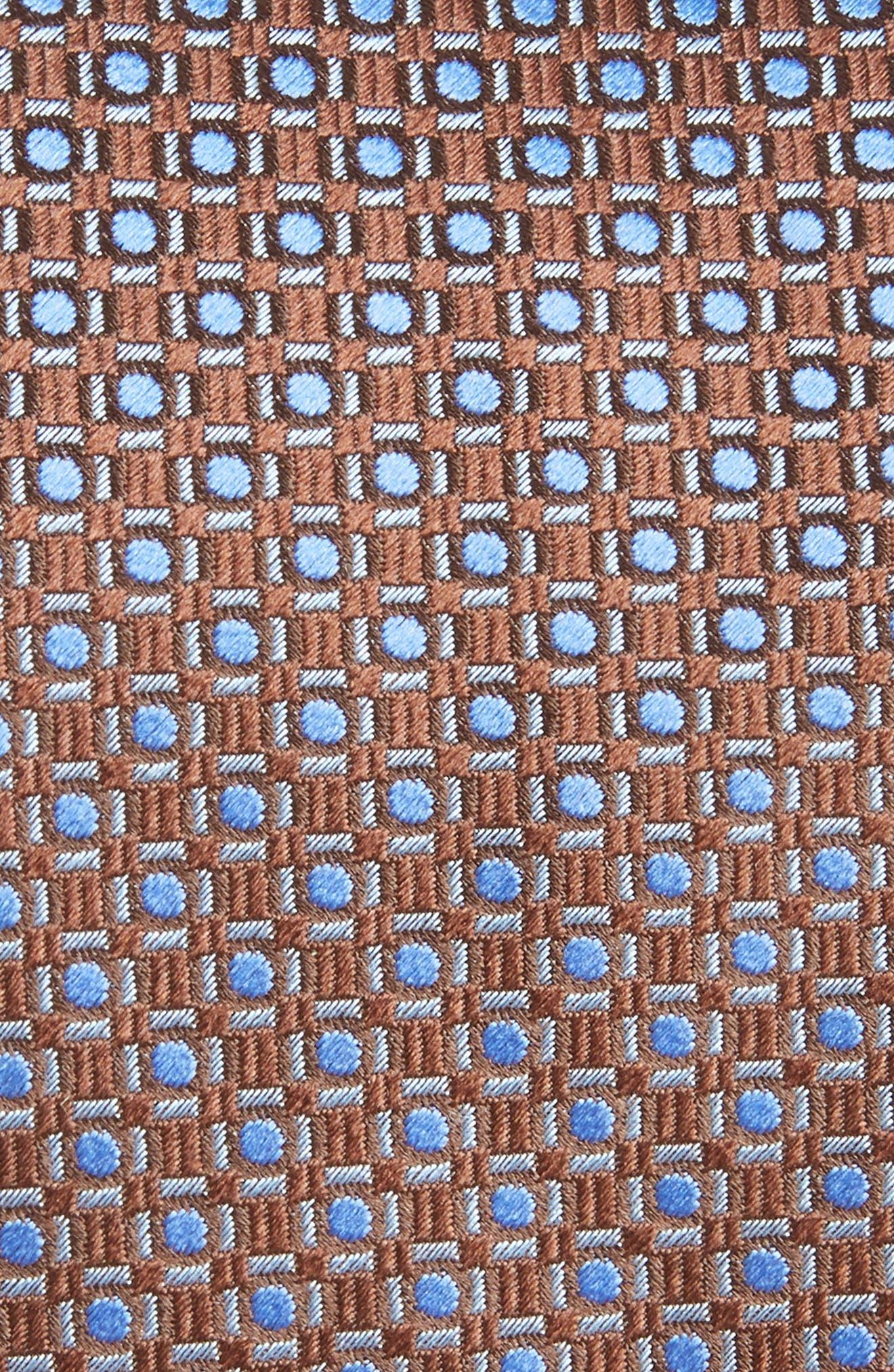 Geometric Silk Tie,                             Alternate thumbnail 2, color,                             BROWN