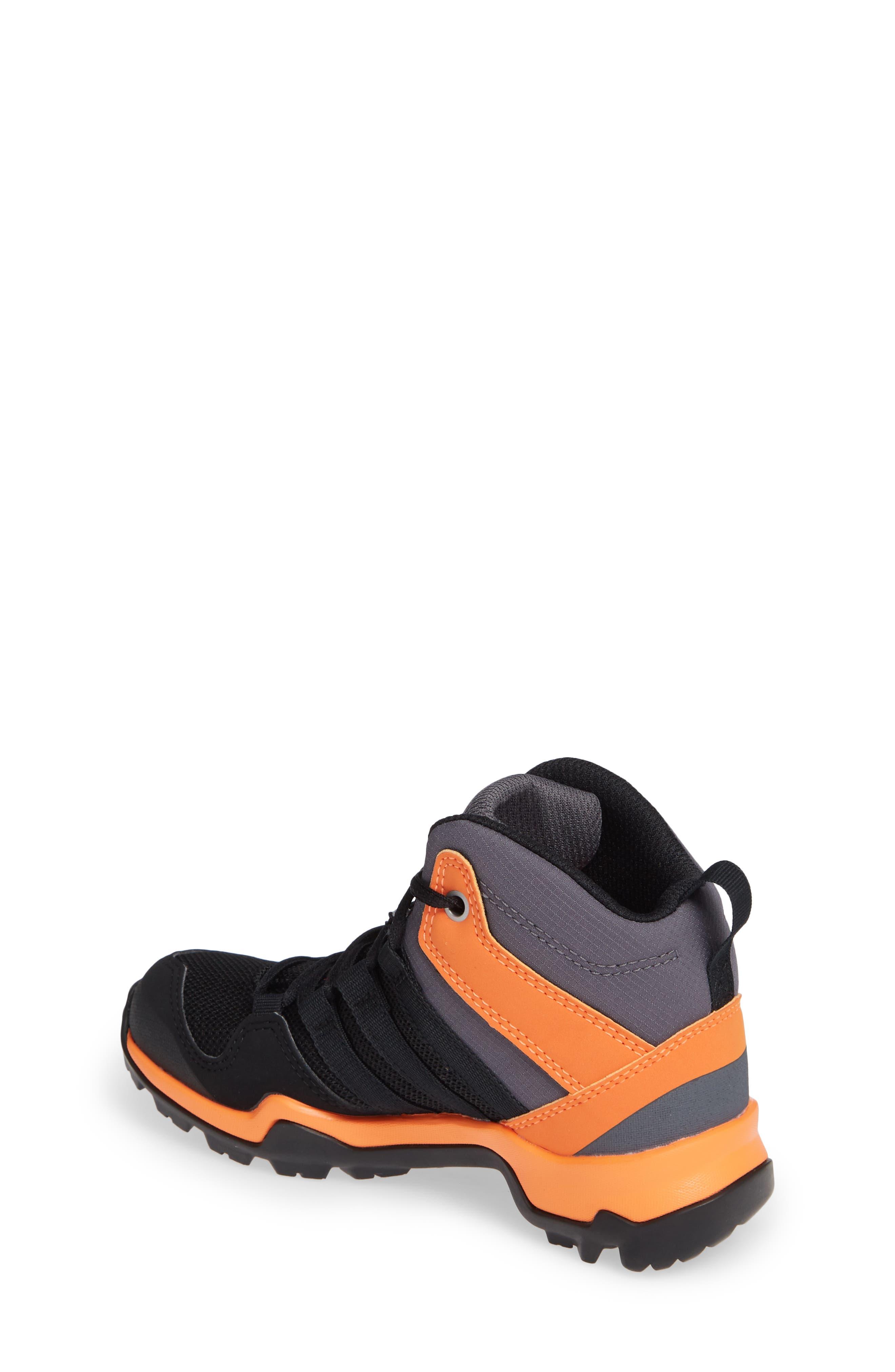 Terrex AX2R Mid Sneaker,                             Alternate thumbnail 2, color,                             BLACK/ BLACK/ HI-RES ORANGE