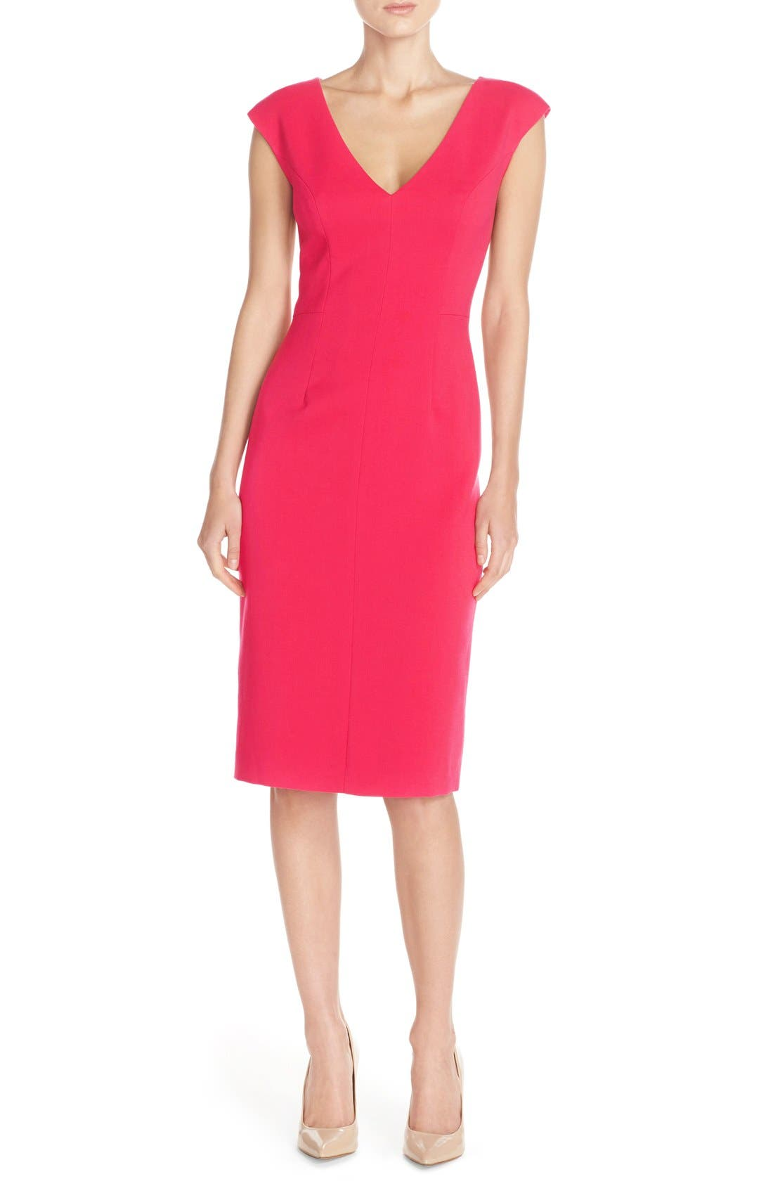 Crepe Sheath Dress,                             Alternate thumbnail 7, color,