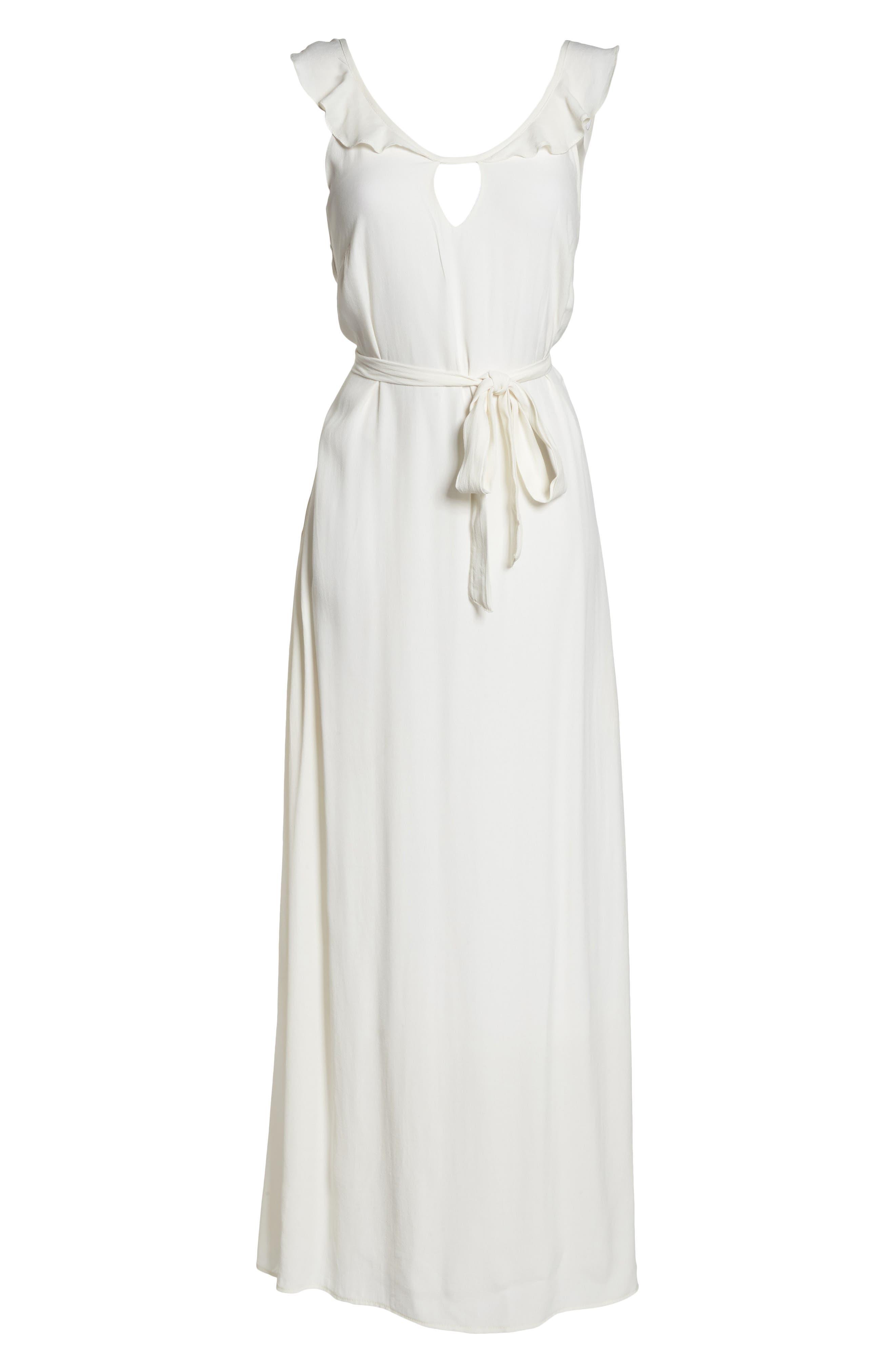 Ruffle Neck Maxi Dress,                             Alternate thumbnail 7, color,                             IVORY