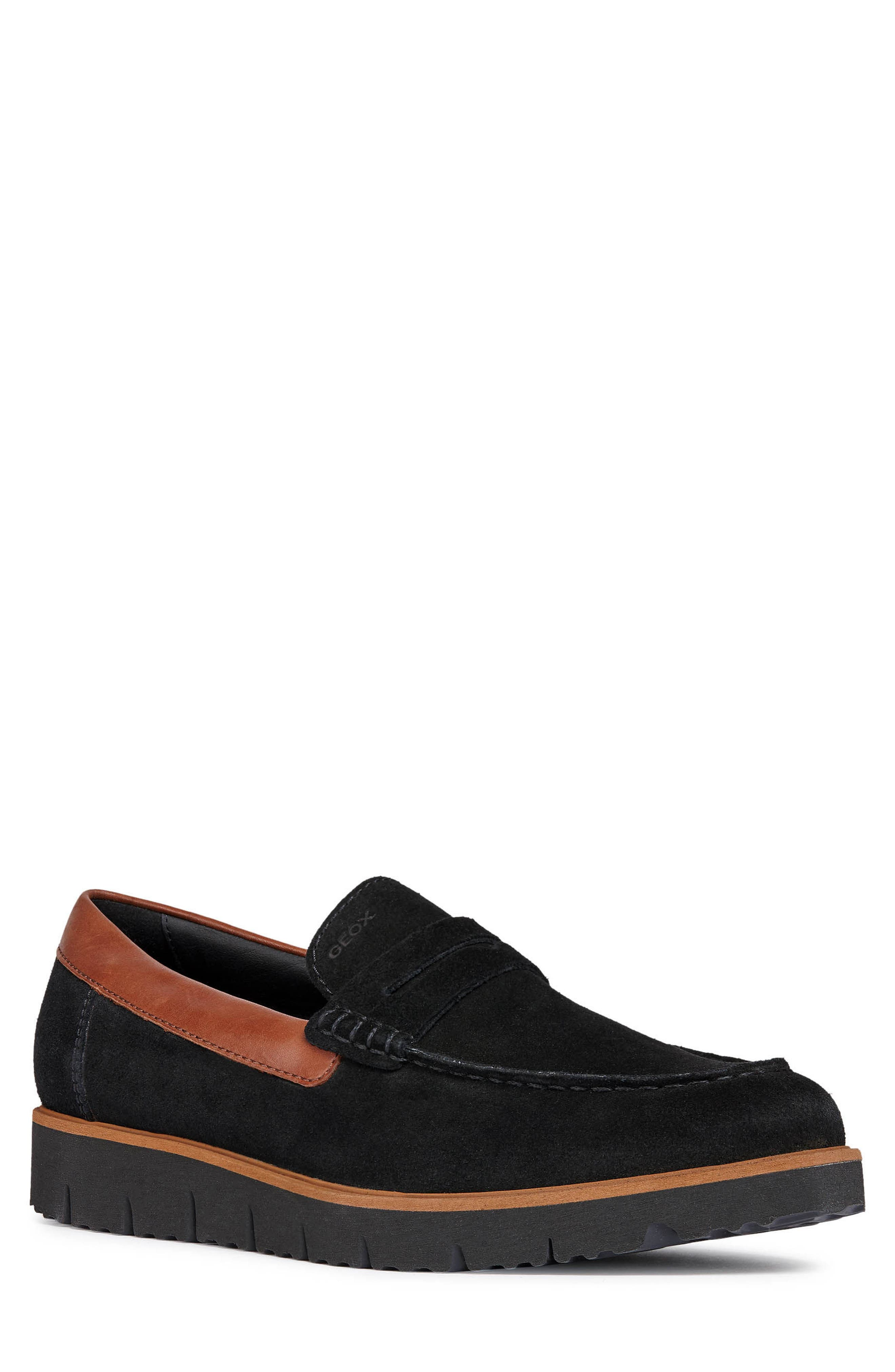 New Pluges 6 Penny Loafer,                             Main thumbnail 1, color,                             BLACK/ BROWN LEATHER