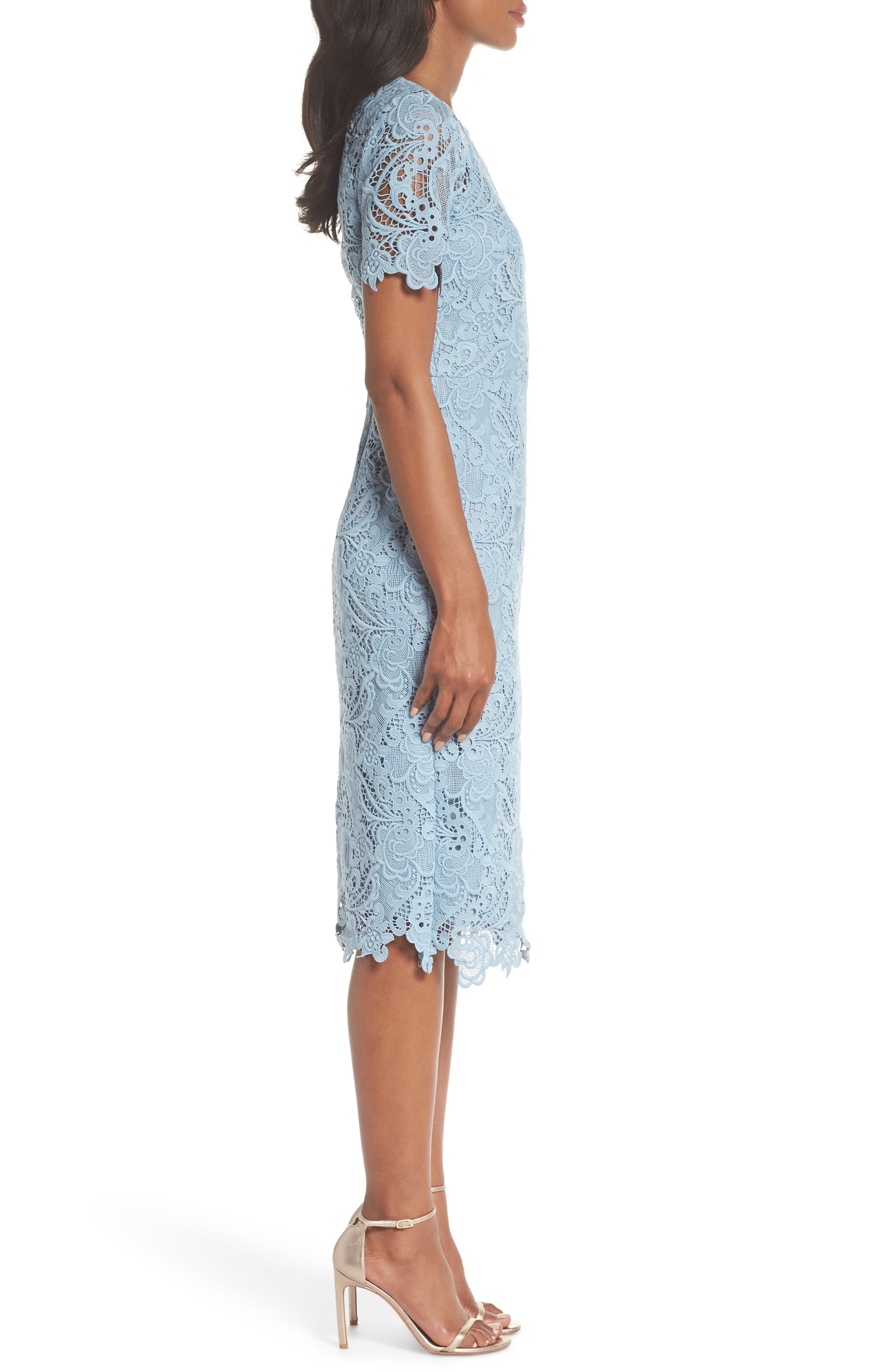 Lace Sheath Dress,                             Alternate thumbnail 3, color,                             BLUE