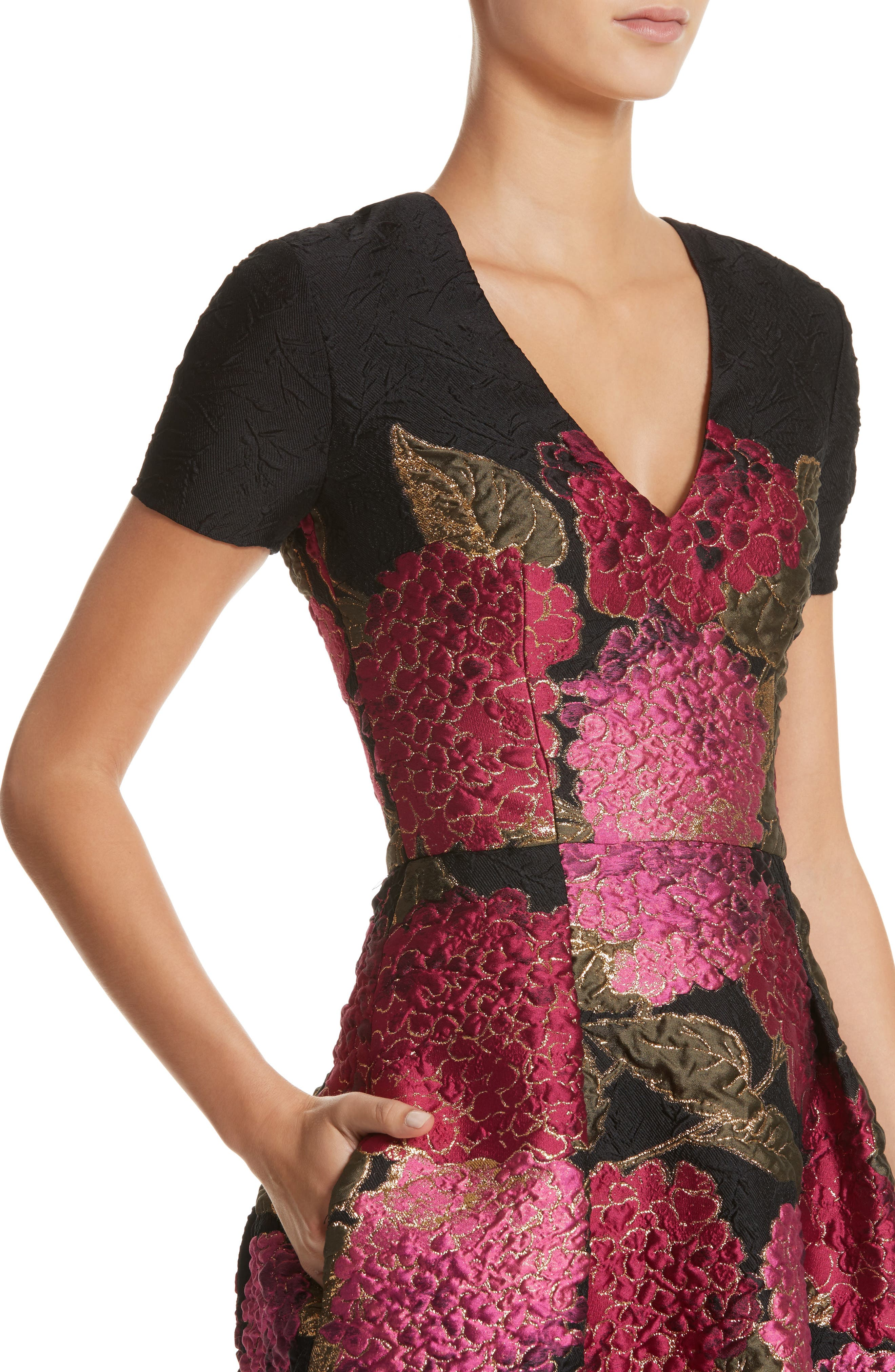 Embroidered Brocade Fit & Flare Dress,                             Alternate thumbnail 4, color,                             001